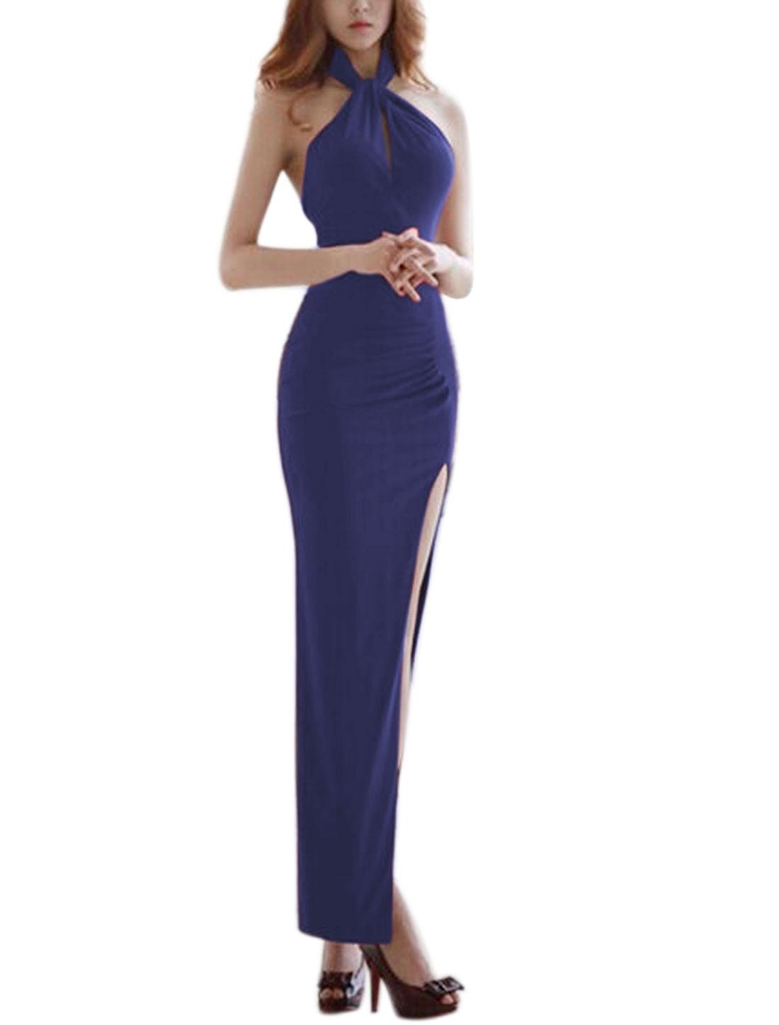 Women Backless High Split Halter Neck Slim Fit Maxi Dress Blue S