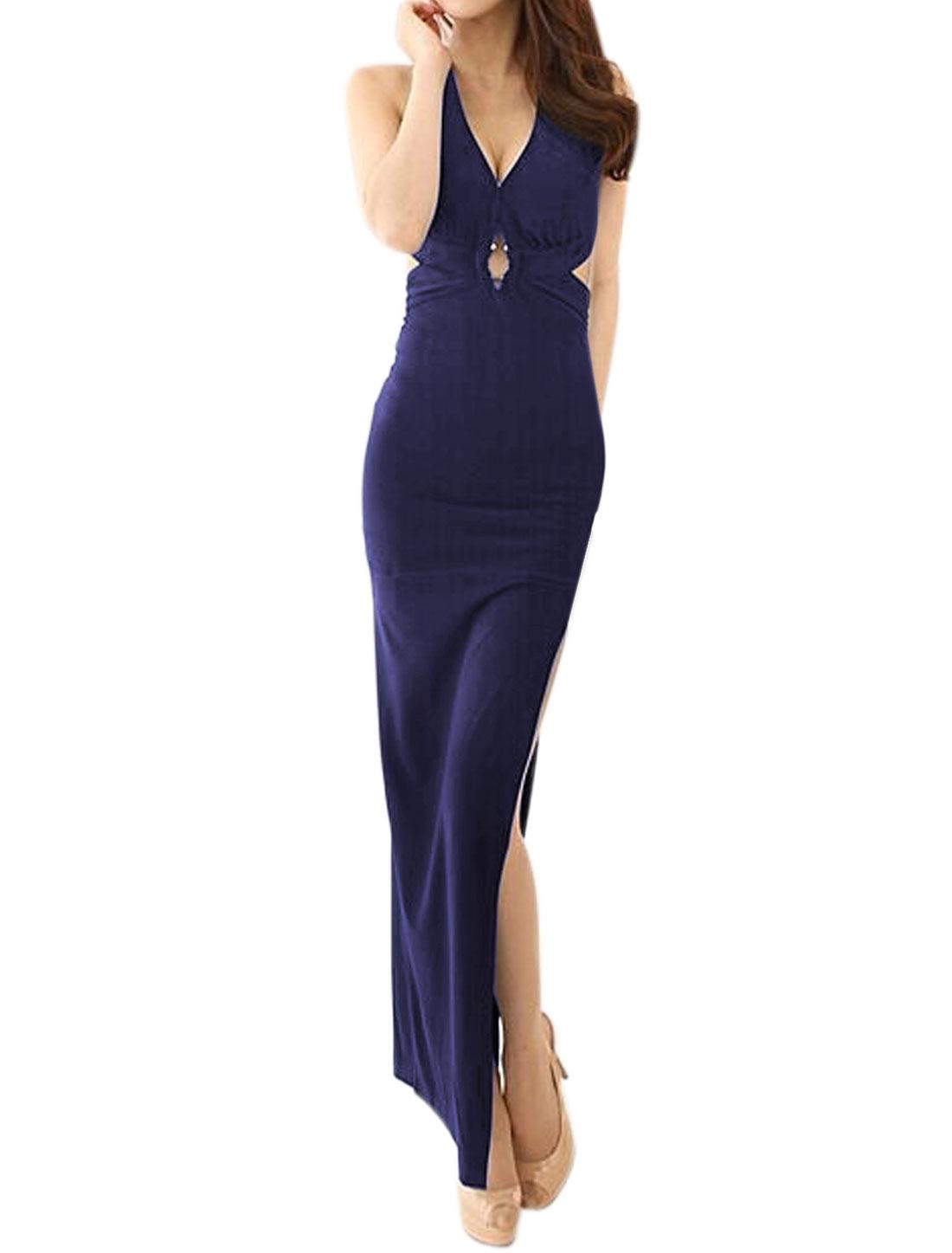 Lady Keyhole Front Halter Neck Backless High Split Maxi Dress Blue S