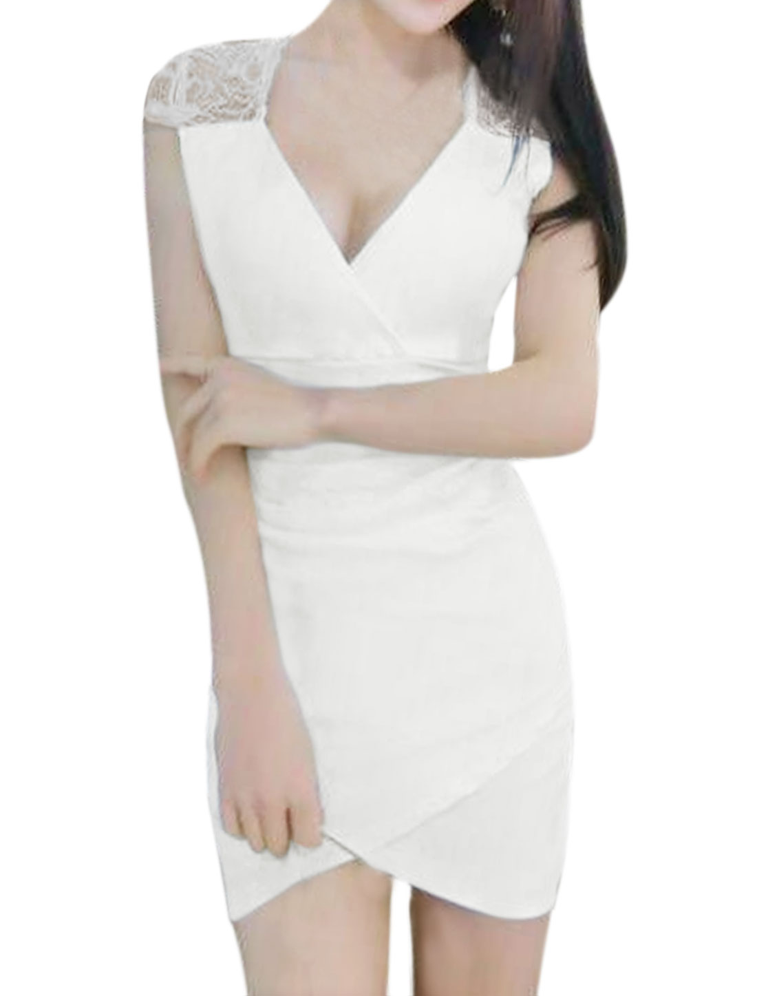 Women Lace Panel Split Hem Ruched Mini Bodycon Dress White XS