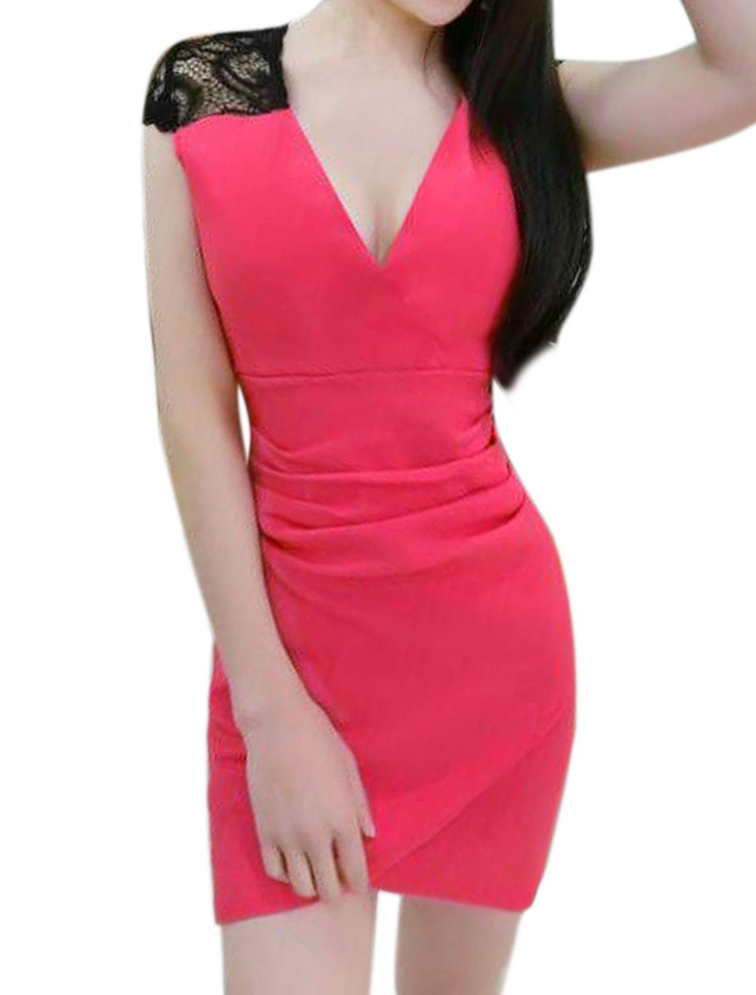 Women Lace Panel Split Hem Ruched Mini Bodycon Dress Pink XS