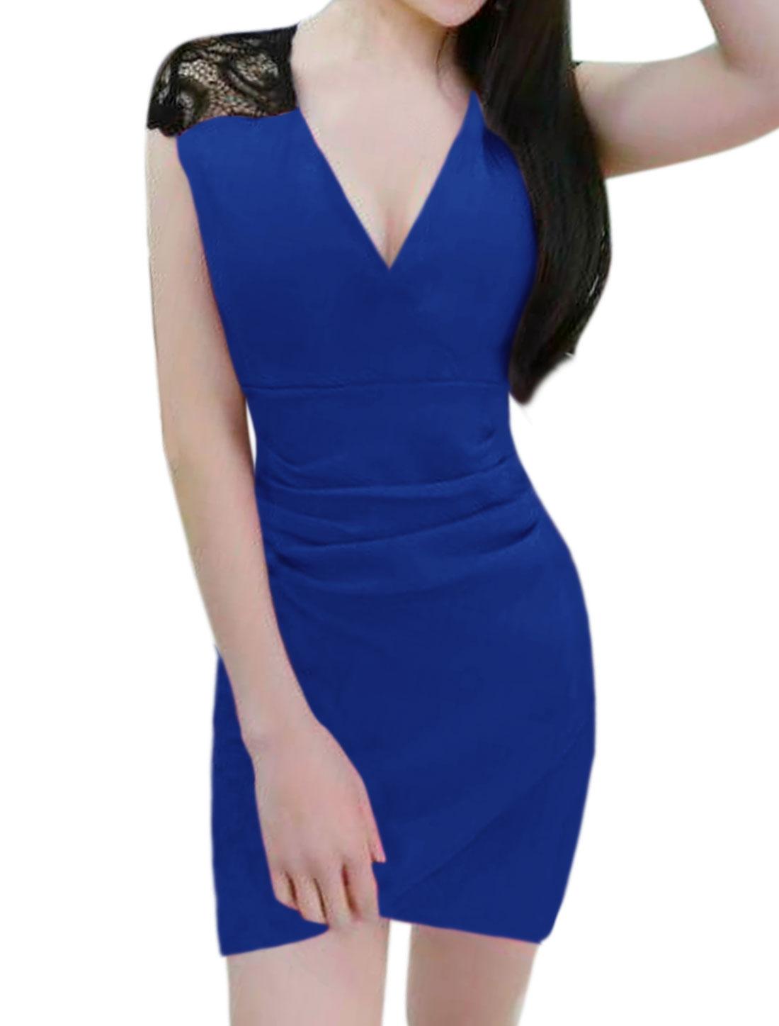 Women Lace Panel Split Hem Ruched Mini Bodycon Dress Blue XS