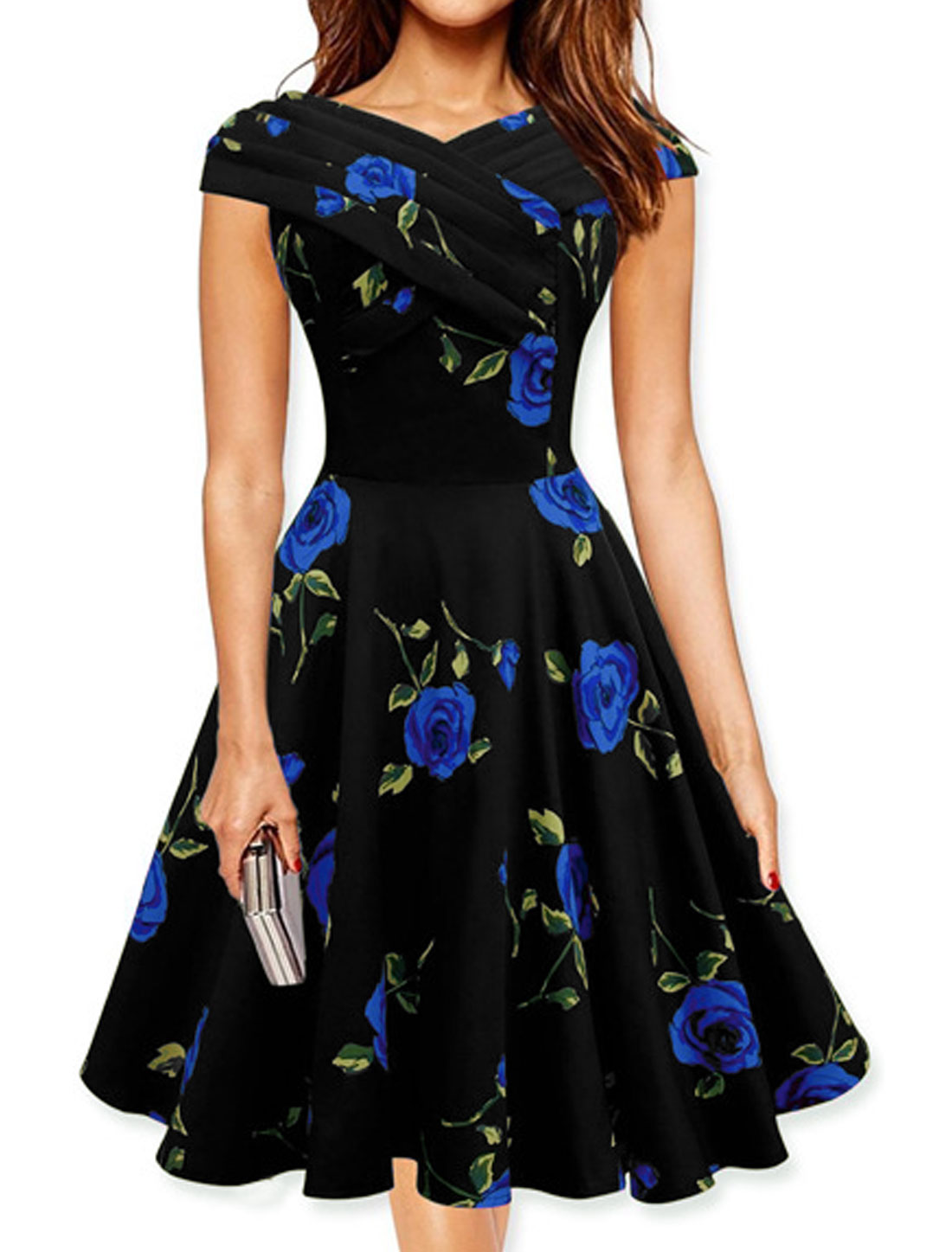 Women V Neck Pleated Upper Floral Print A Line Dress Blue S