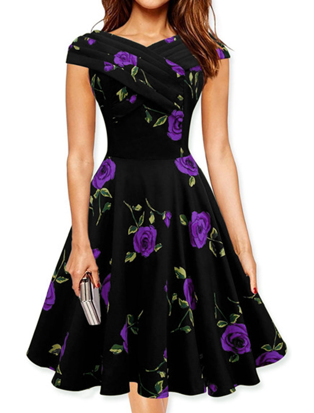 Women V Neck Pleated Upper Floral Print A Line Dress Purple S