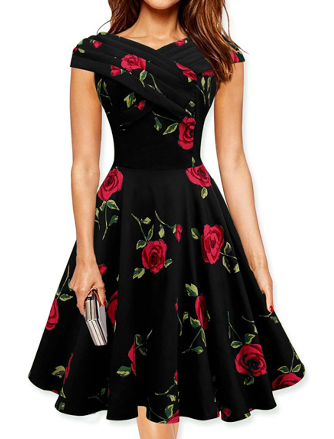 Lady Cap Sleeves Pleated Upper Flower A Line Dress Red M