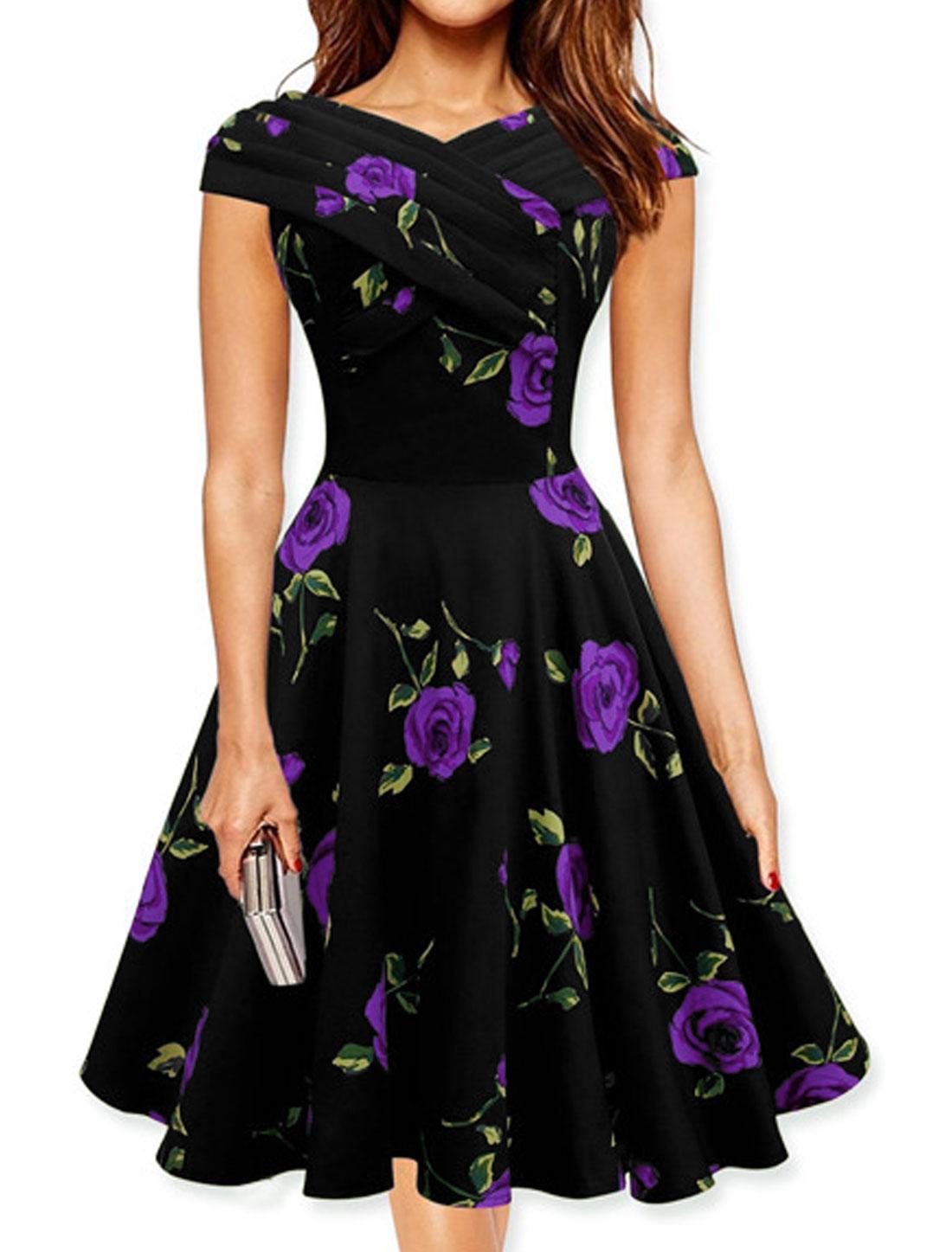Lady Cap Sleeves Pleated Upper Flower A Line Dress Purple M