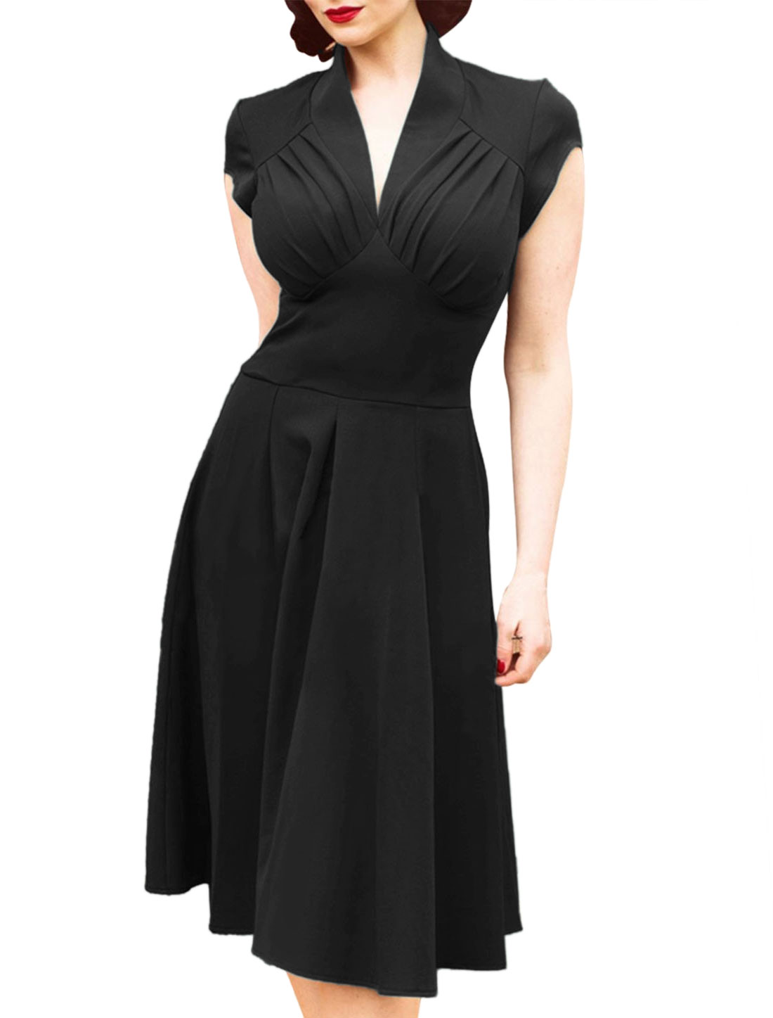 Women V Neck Ruched Cap Sleeves Fit and Flare Dress Black L