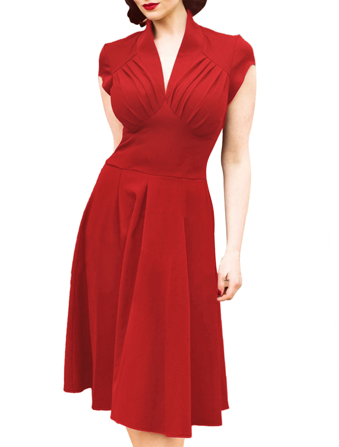 Women V Neck Ruched Cap Sleeves Fit and Flare Dress Red L