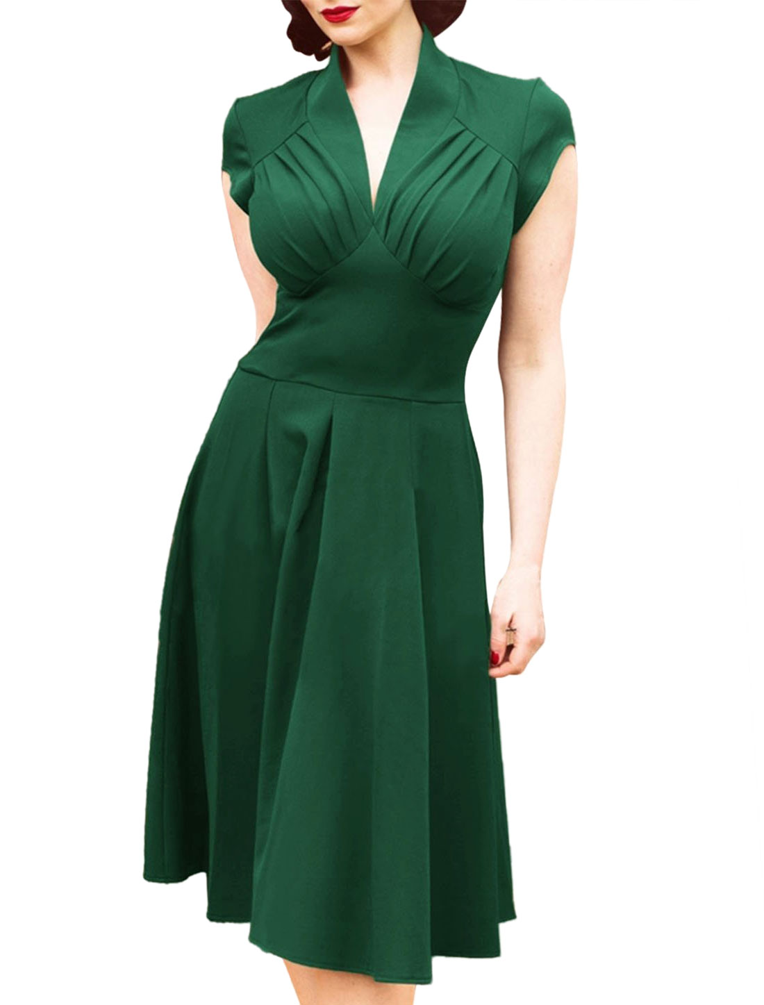 Women V Neck Ruched Cap Sleeves Fit and Flare Dress Green L