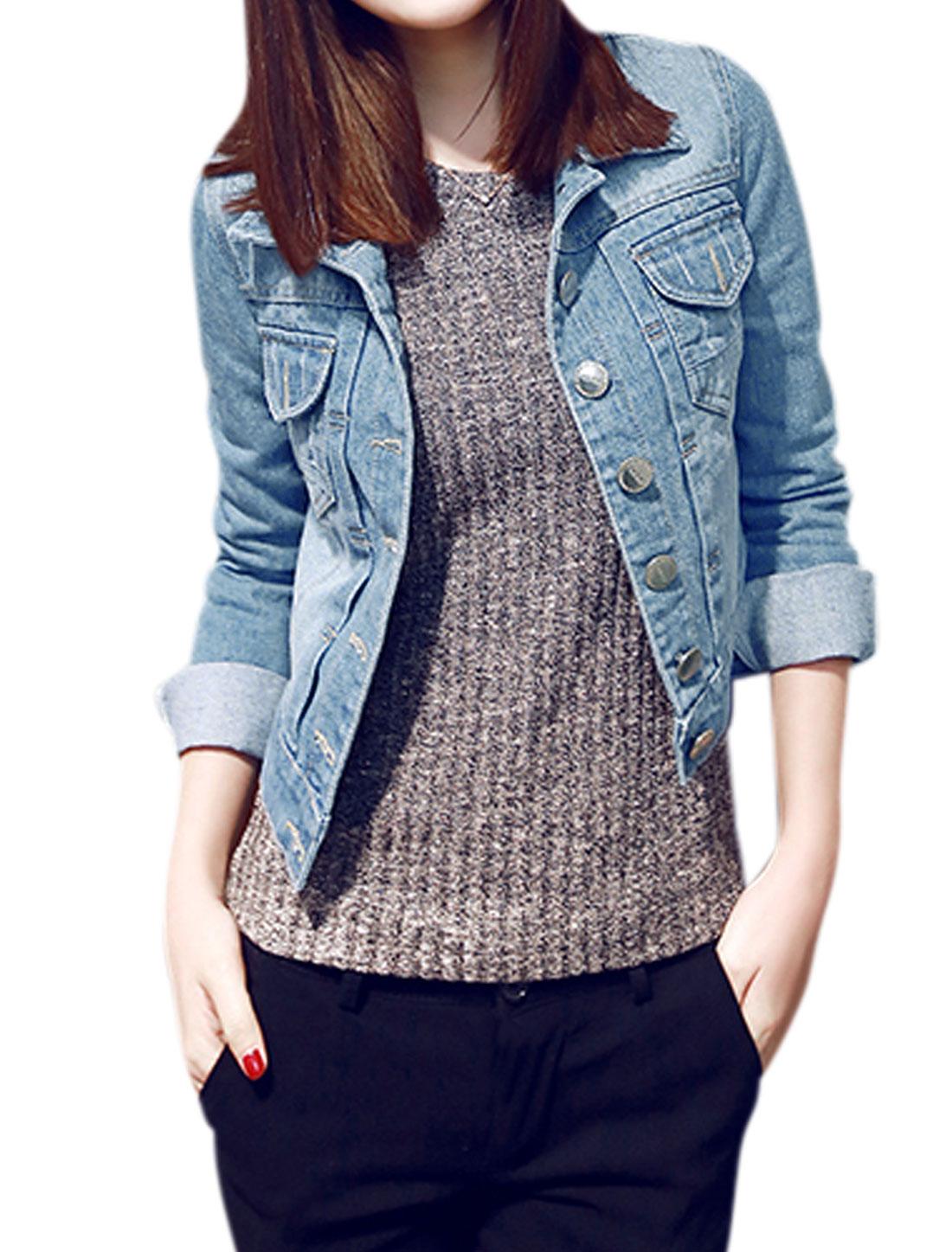 Women Turn Down Collar Chest Pockets Slim Fit Denim Jacket Light Blue XS