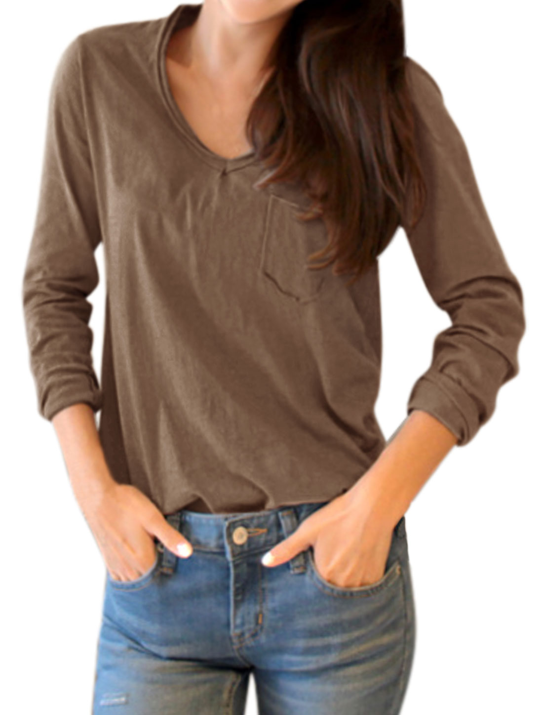 Women V Neck Long Sleeves Chest Pocket Tee Shirt Brown XS