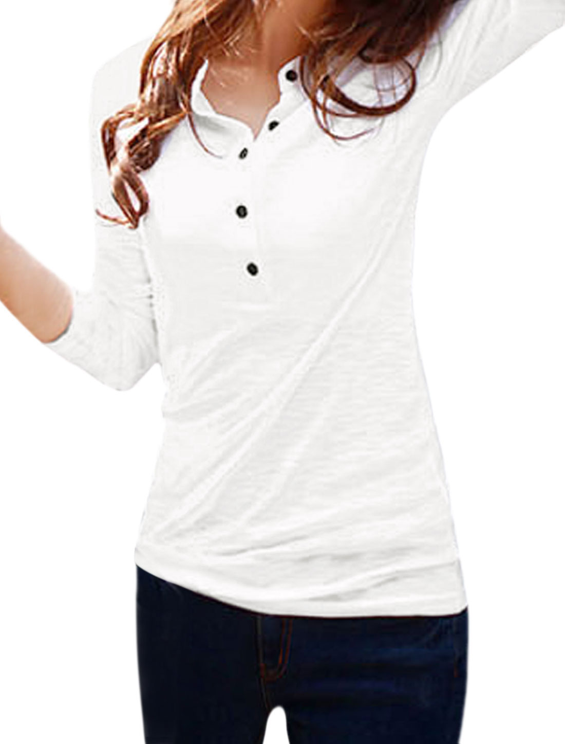 Women Long Sleeves Stand Collar Half Placket Tee Shirt White S