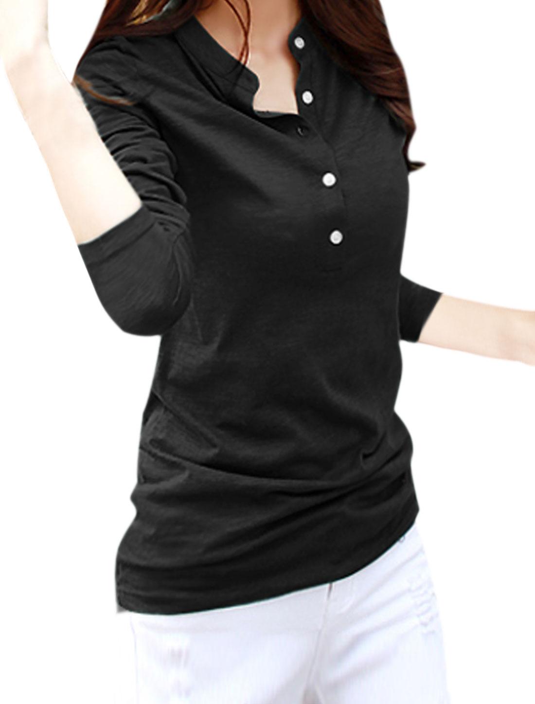 Women Long Sleeves Stand Collar Half Placket Tee Shirt Black S