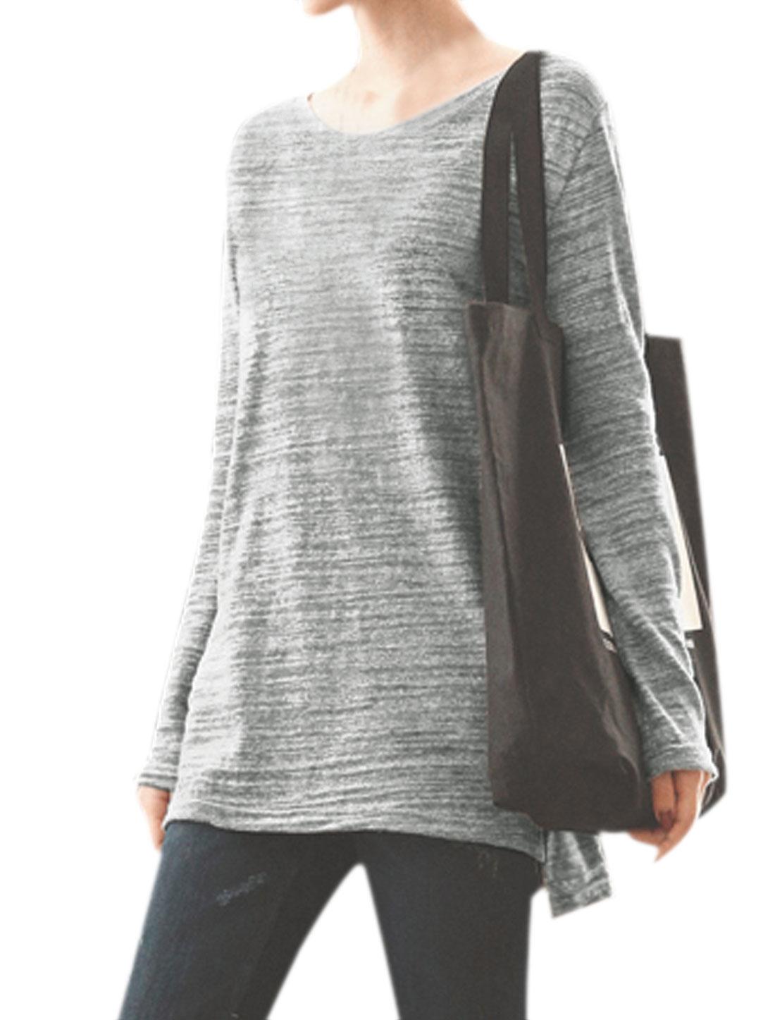 Women Split Sides Round Neck High Low Hem Tunic Top Gray XS