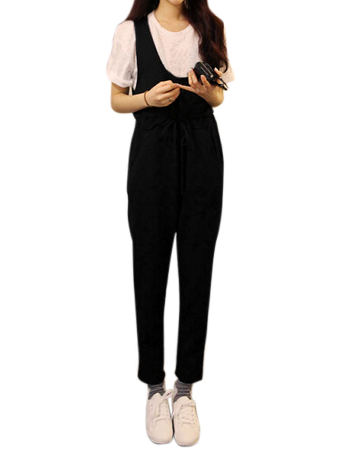 Women Drawstring Elastic Waist Slant Pockets Suspender Pants Black XS