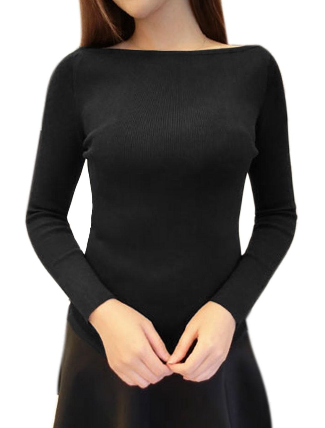 Women Irregular Hem Boat Neck Stretchy Slim Fit Knit Top Black XS