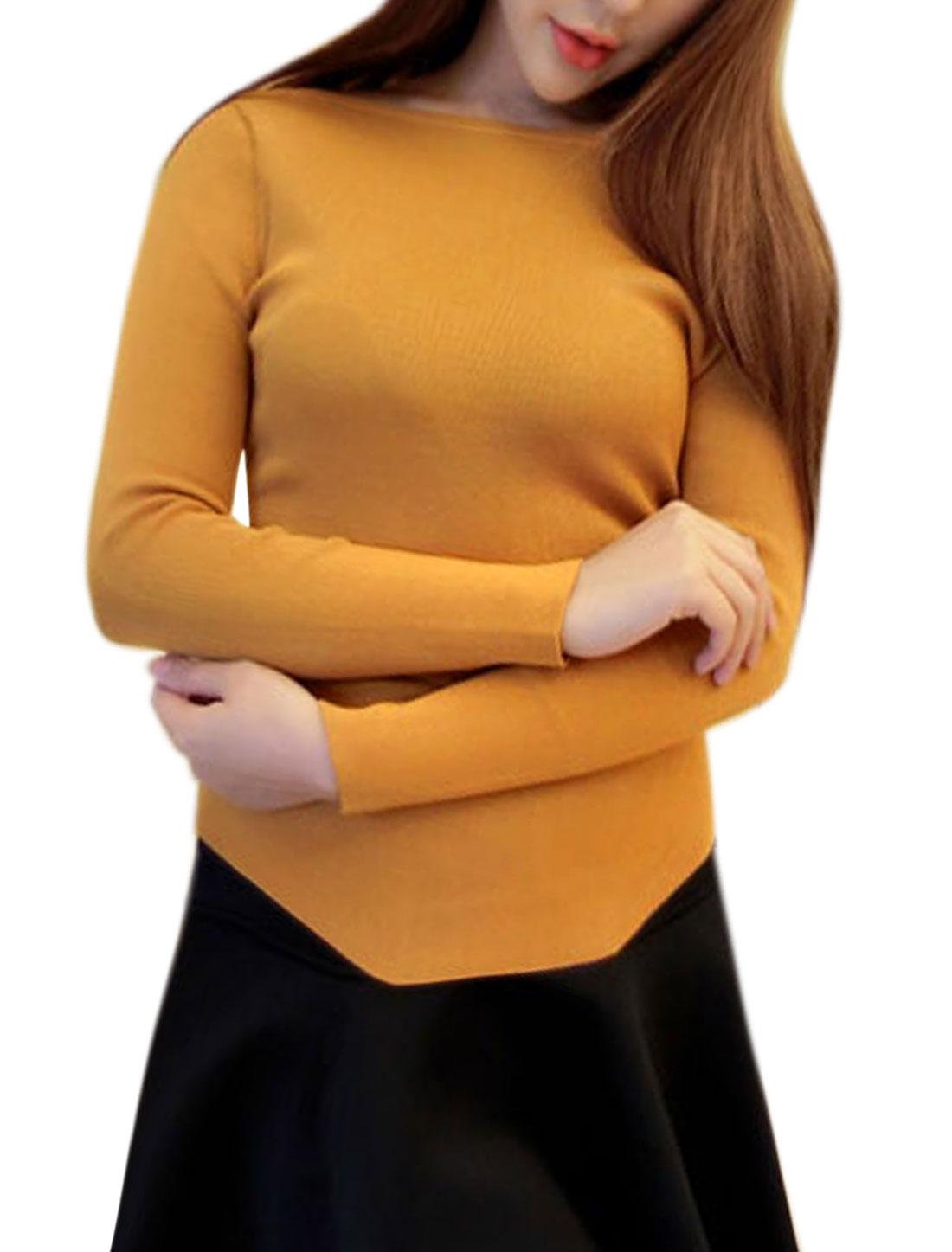 Women Boat Neck Irregular Hem Slim Fit Knit Top Yellow XS