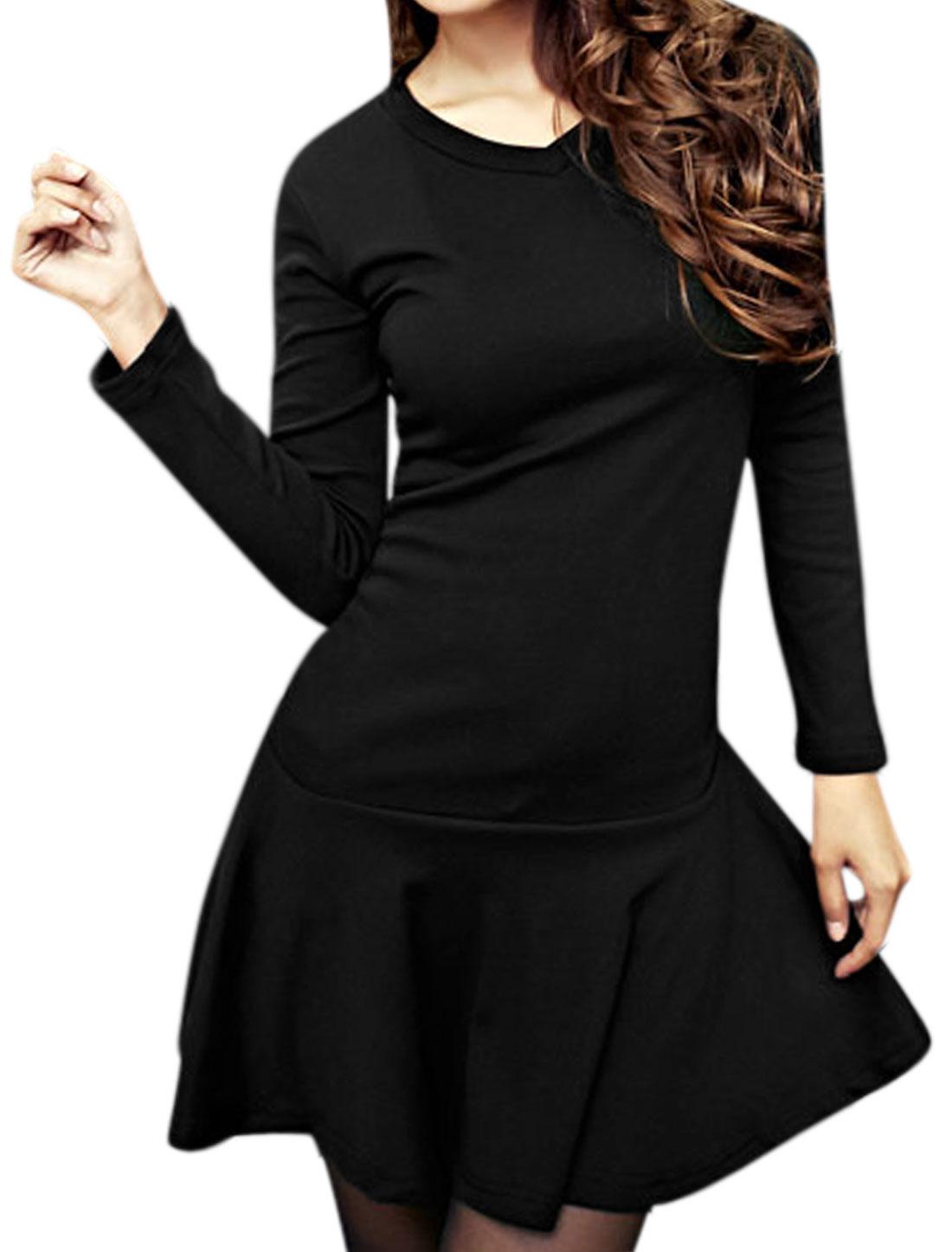 Women V Neck Shirred Flouncing Hem Slim Fit Mini Dress Black S