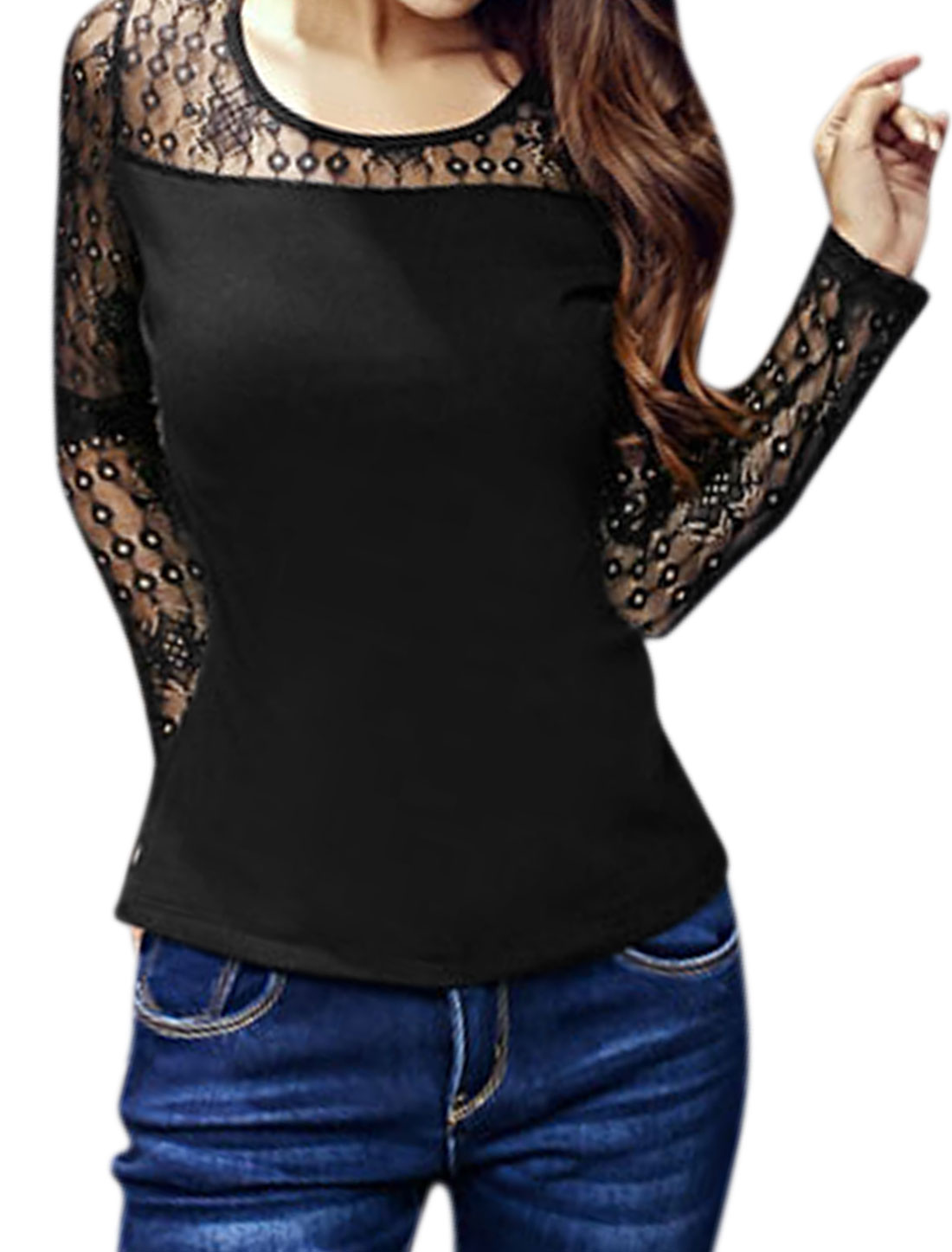 Women Round Neck Semi Sheer Upper Paneled Slim Fit Top Black XS