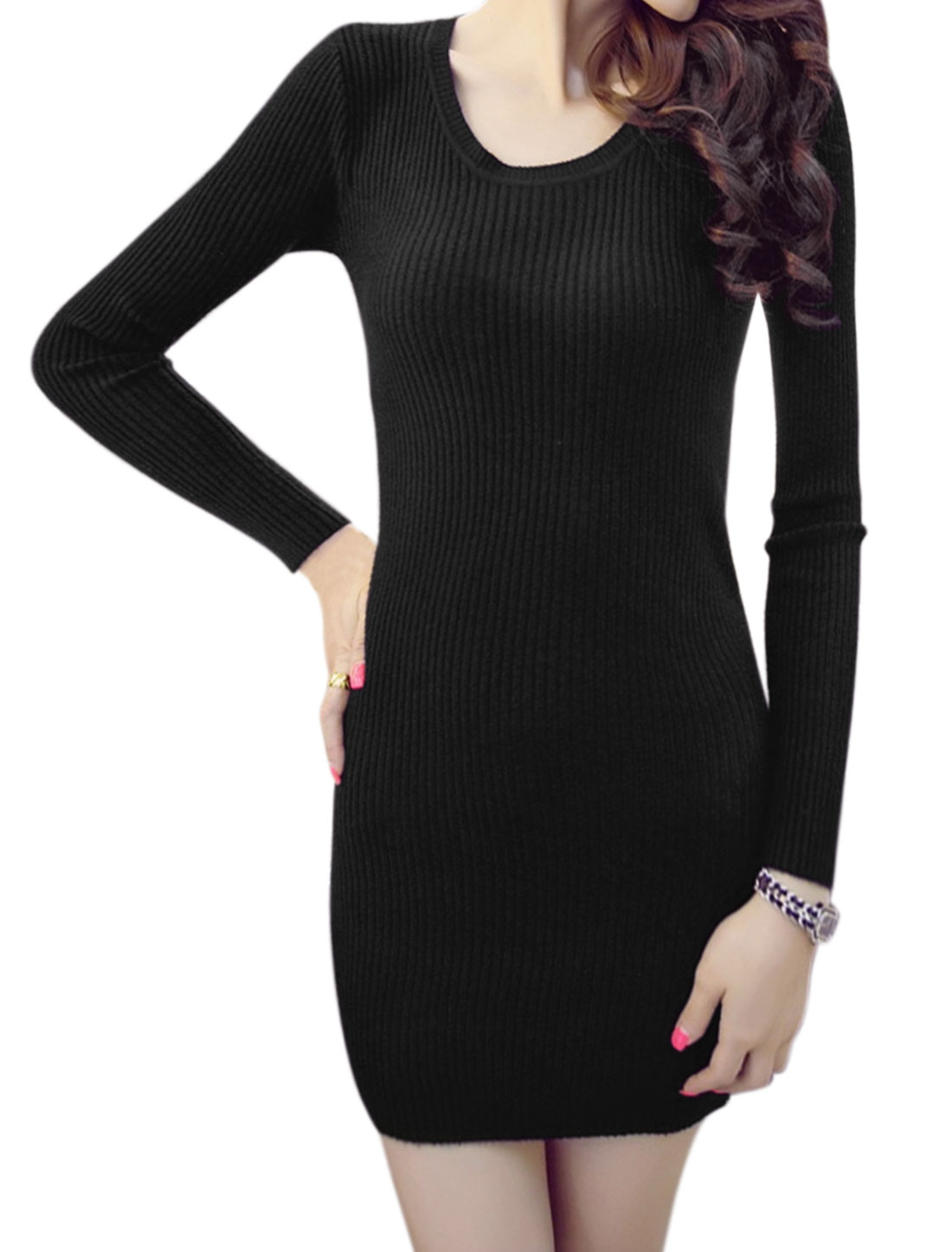 Women Round Neck Long Sleeves Knit Mini Bodycon Dress Black XS