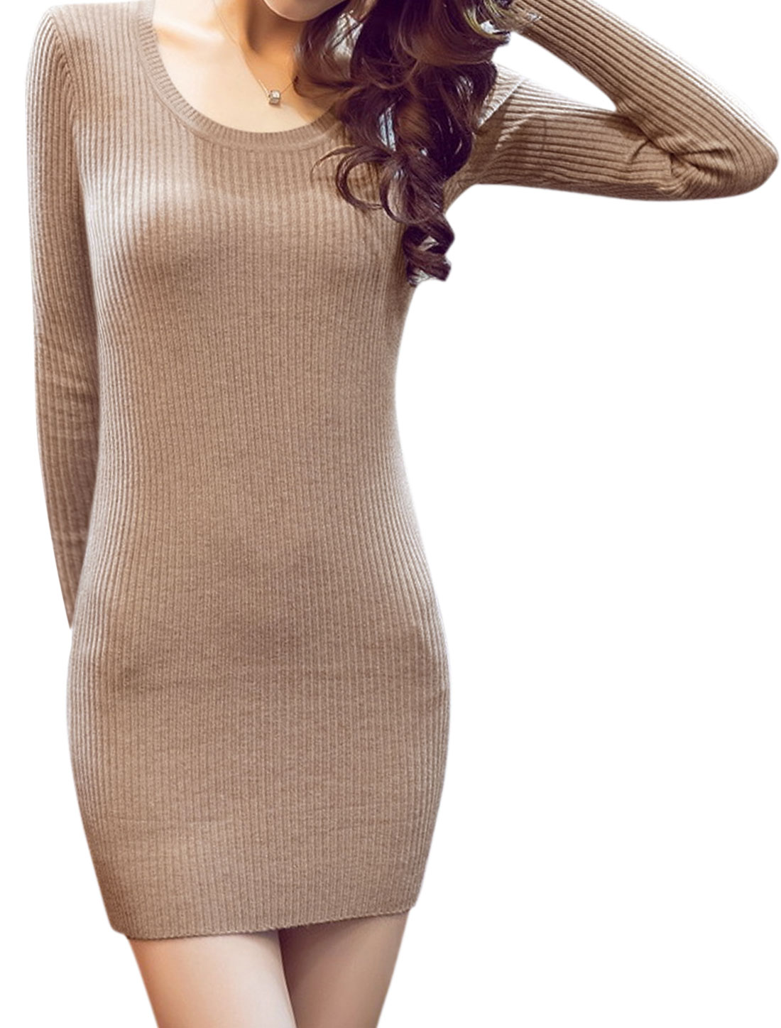 Women Round Neck Long Sleeves Knit Mini Bodycon Dress Beige XS