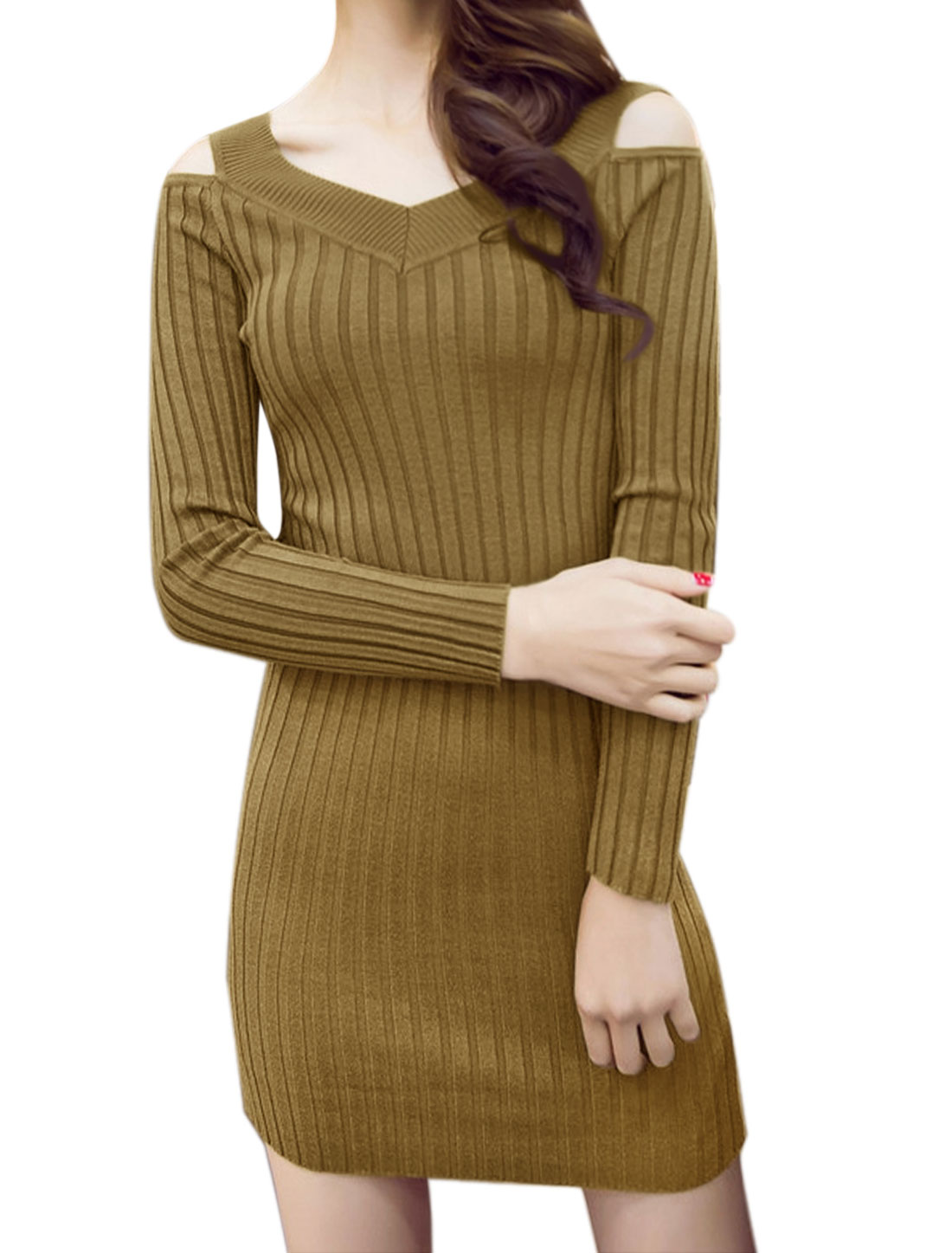 Women Cut Out Shoulder Ribbed Mini Bodycon Dress Green S