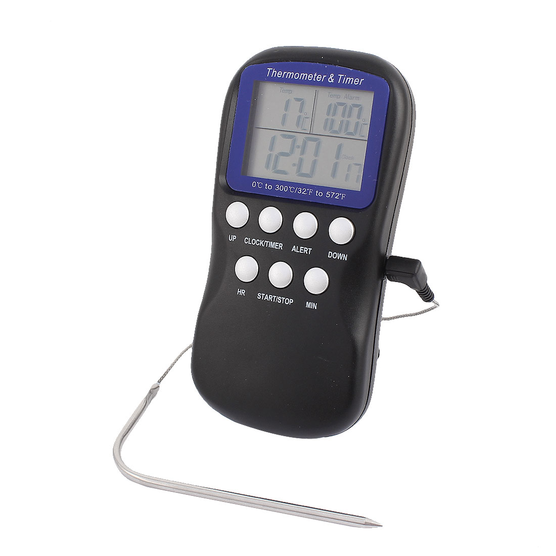 Instant Read Digital Home Kitchen Oven Cooking Thermometer/Timer Black