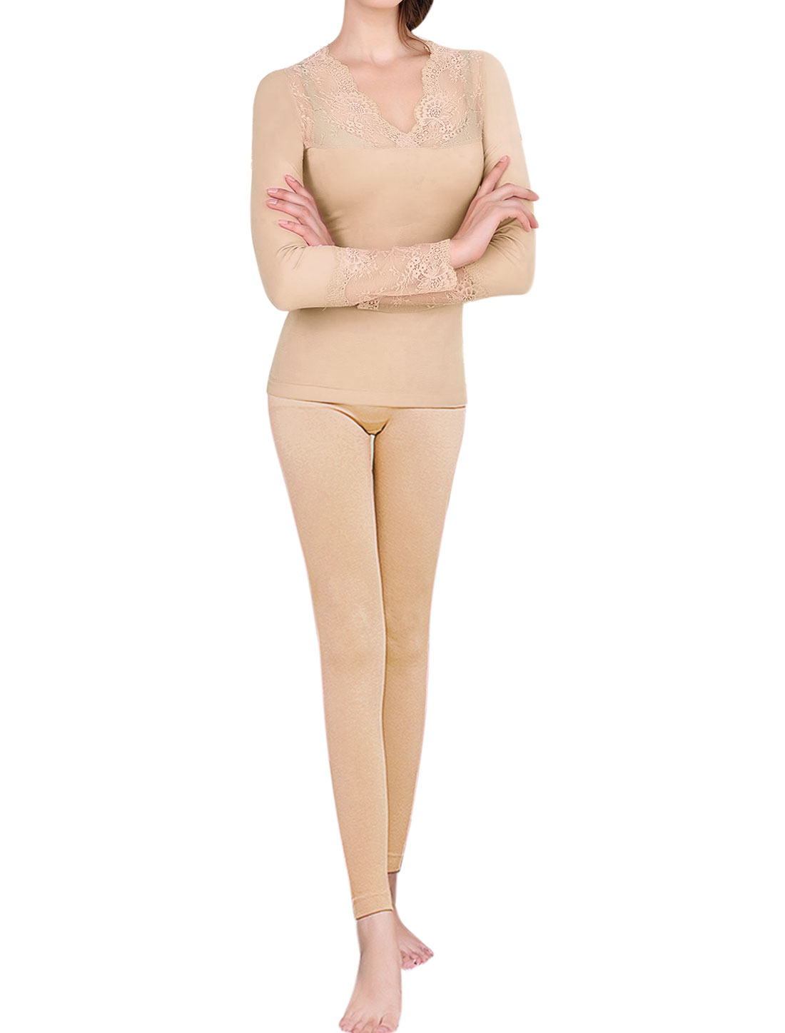 Women Thermal Underwear Lace Panel Top w Skinny Pants Set Beige XS