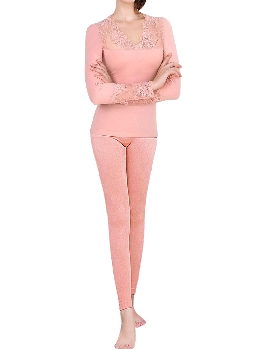 Women Thermal Underwear Lace Panel Top w Skinny Pants Set Pink XS
