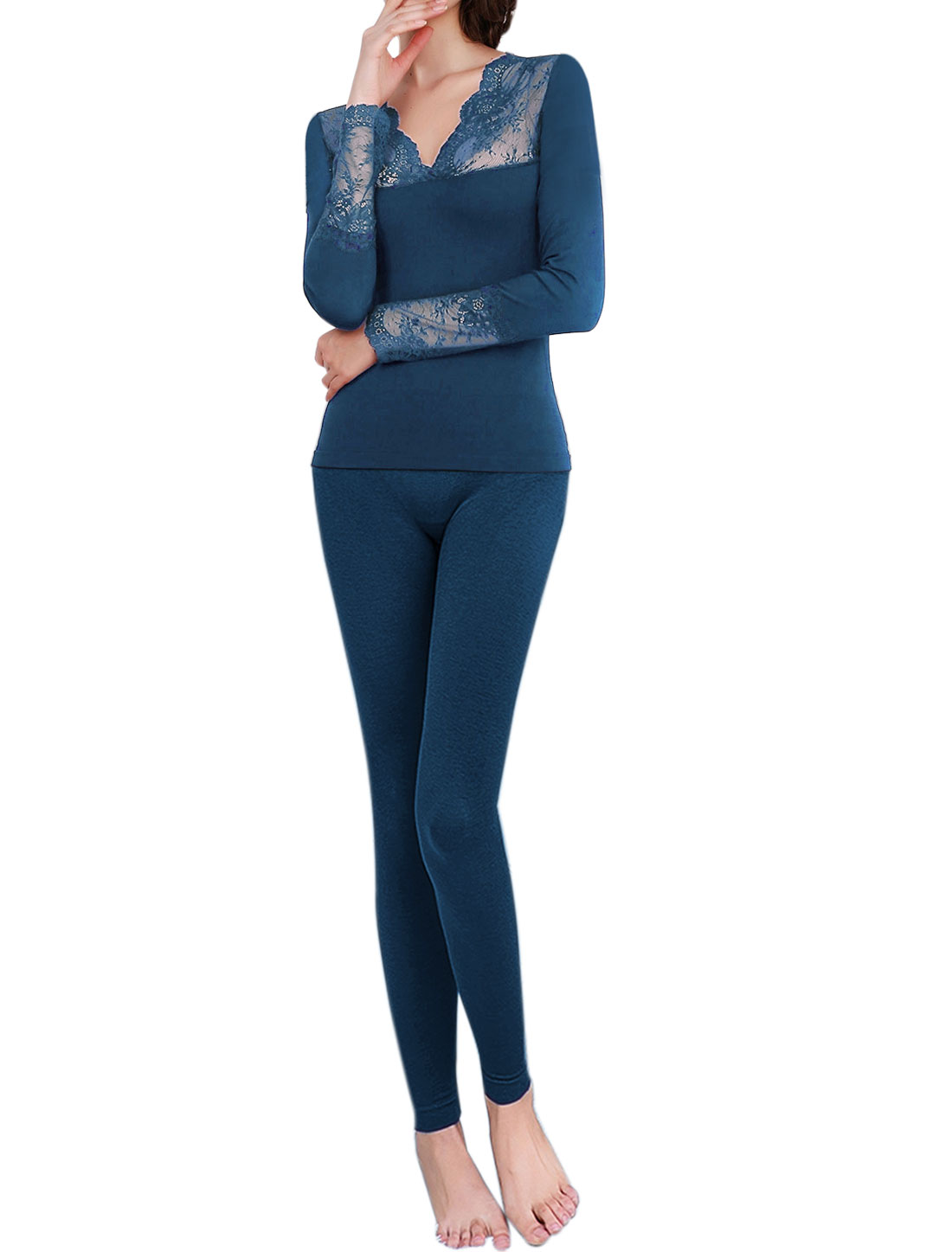 Women Thermal Underwear Lace Panel Top w Skinny Pants Set Blue XS