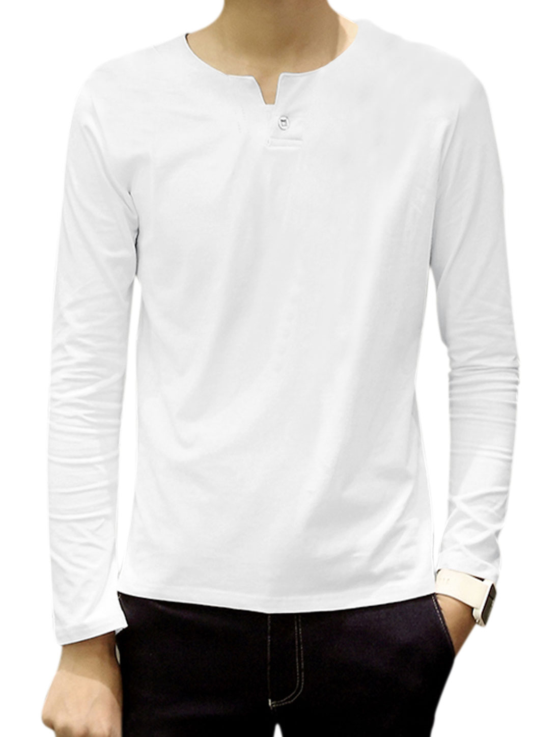 Men Split Neck Long Sleeves Button Upper Tee Shirt White M