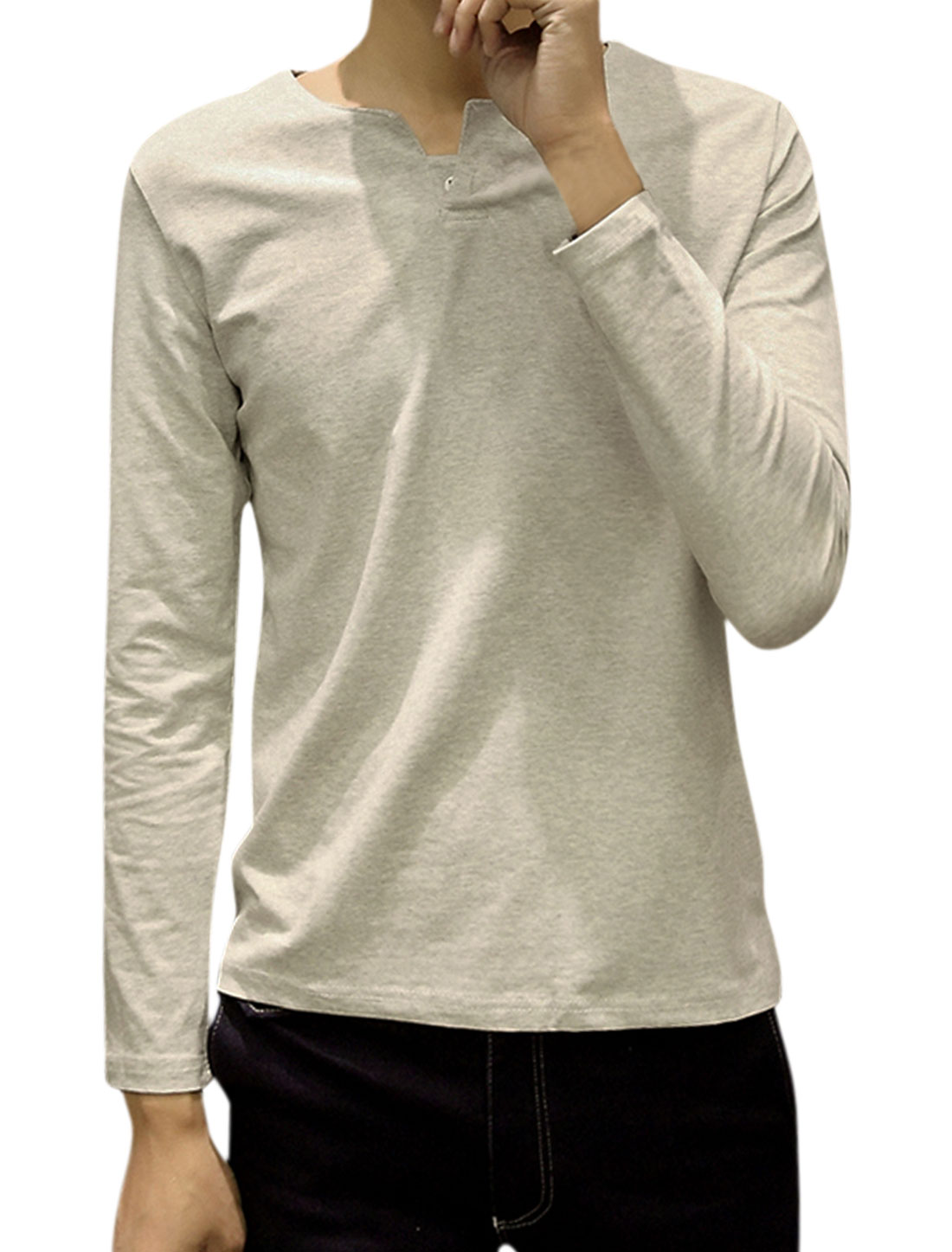 Men Split Neck Long Sleeves Button Upper Tee Shirt Light Gray M