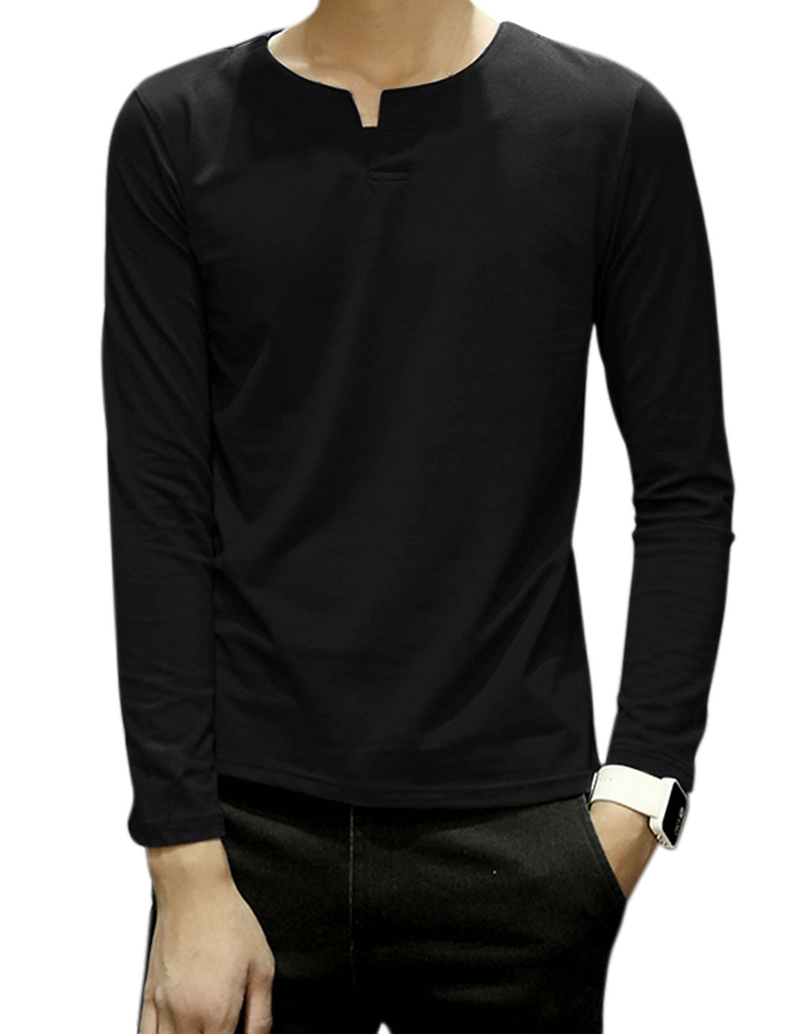 Men Split Neck Long Sleeves Button Upper Tee Shirt Black M