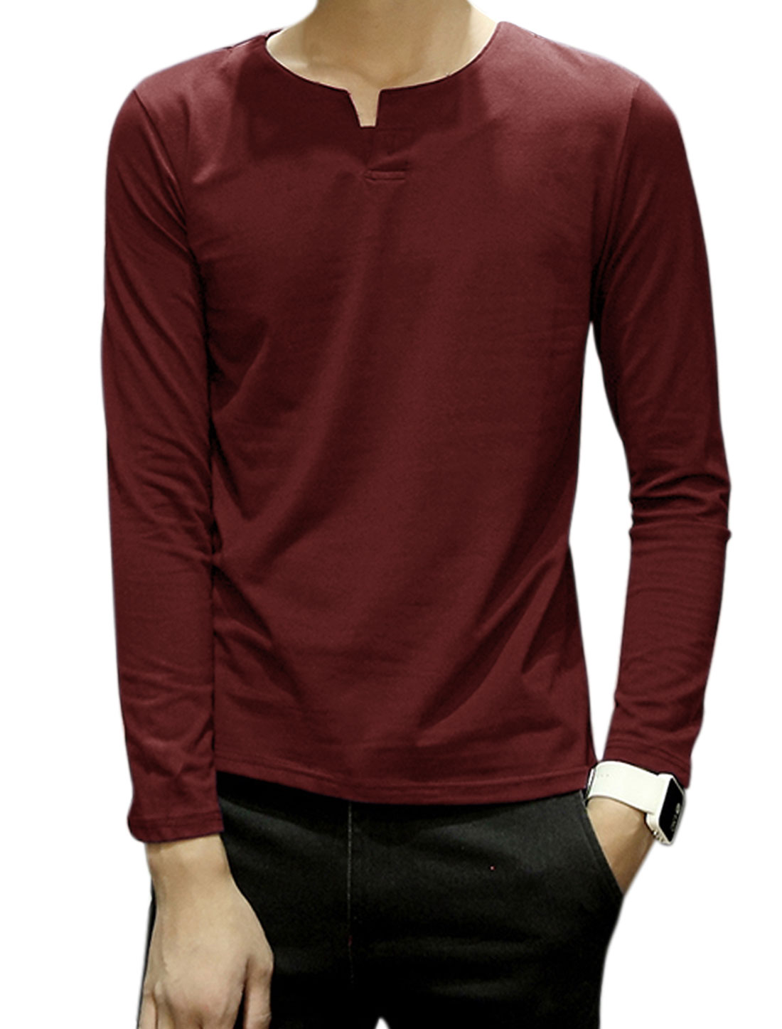 Men Split Neck Long Sleeves Button Upper Tee Shirt Red M