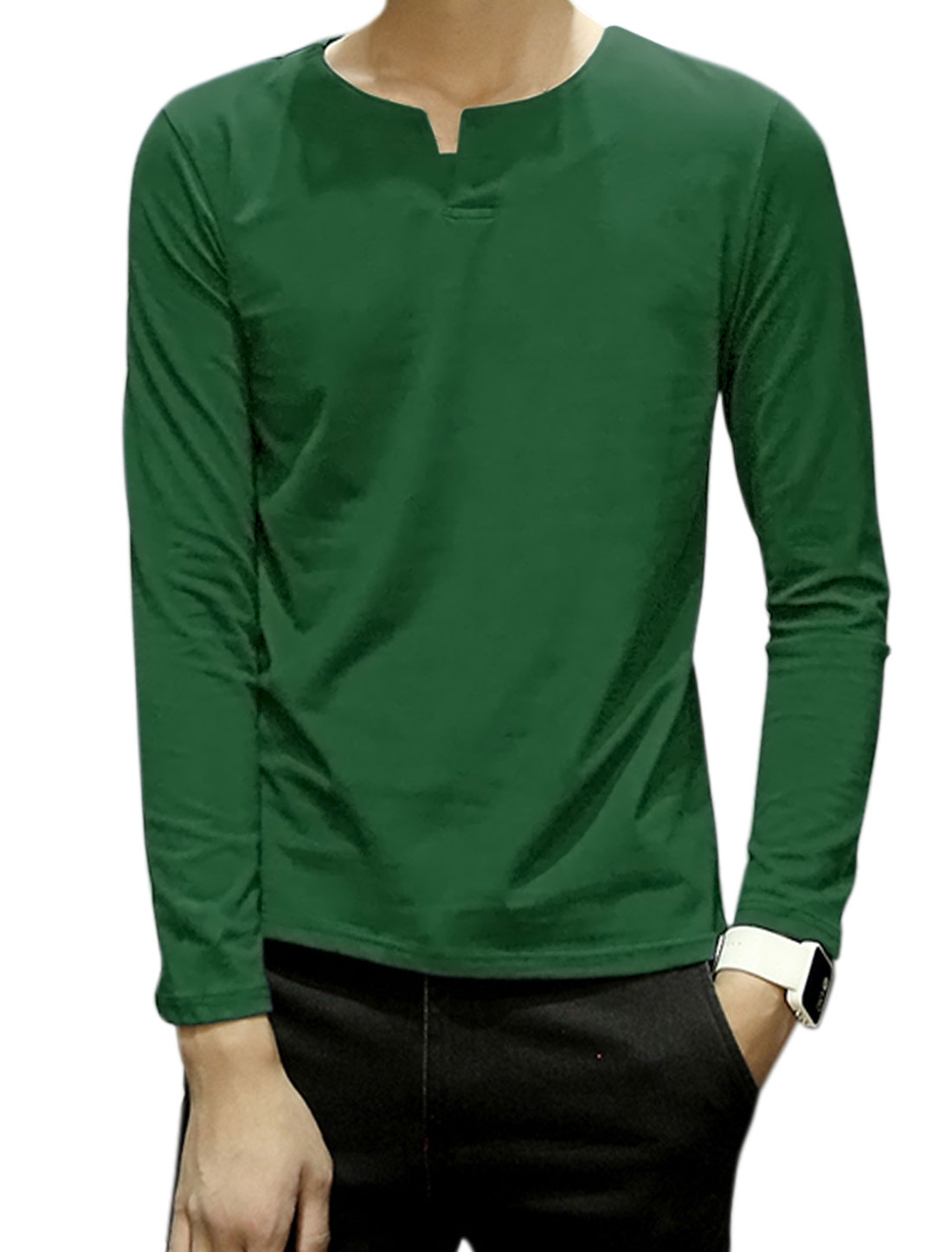 Men Split Neck Long Sleeves Button Upper Tee Shirt Green M
