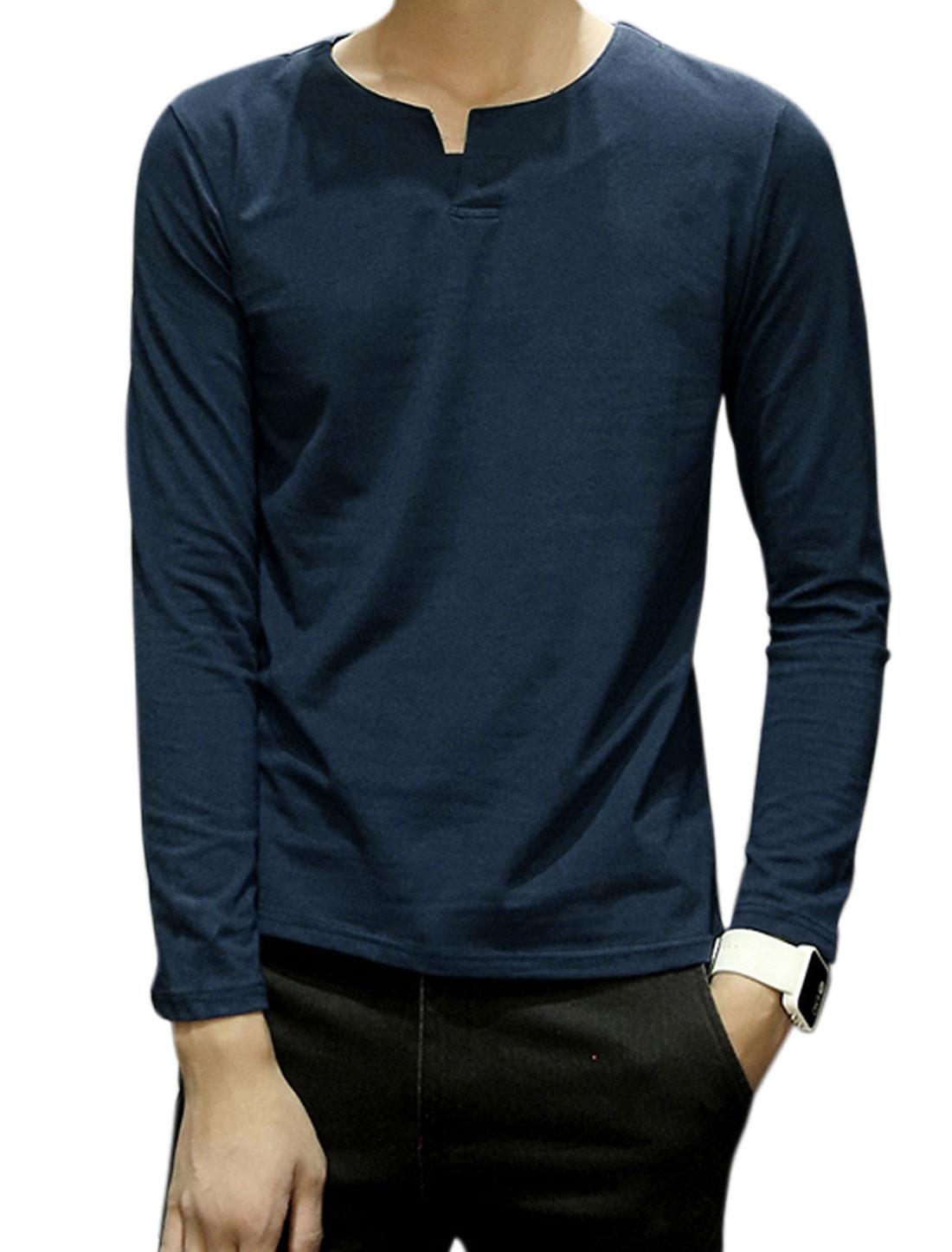Men Split Neck Long Sleeves Button Upper Tee Shirt Blue M