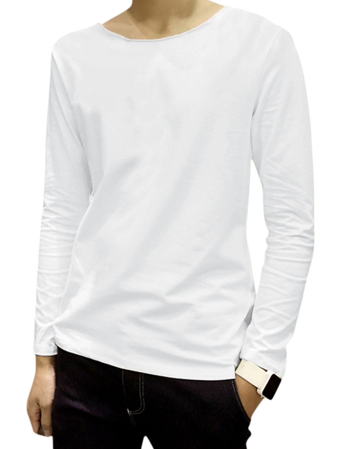 Men Raw Edge Neckline Long Sleeves Round Neck Tee Shirt White M