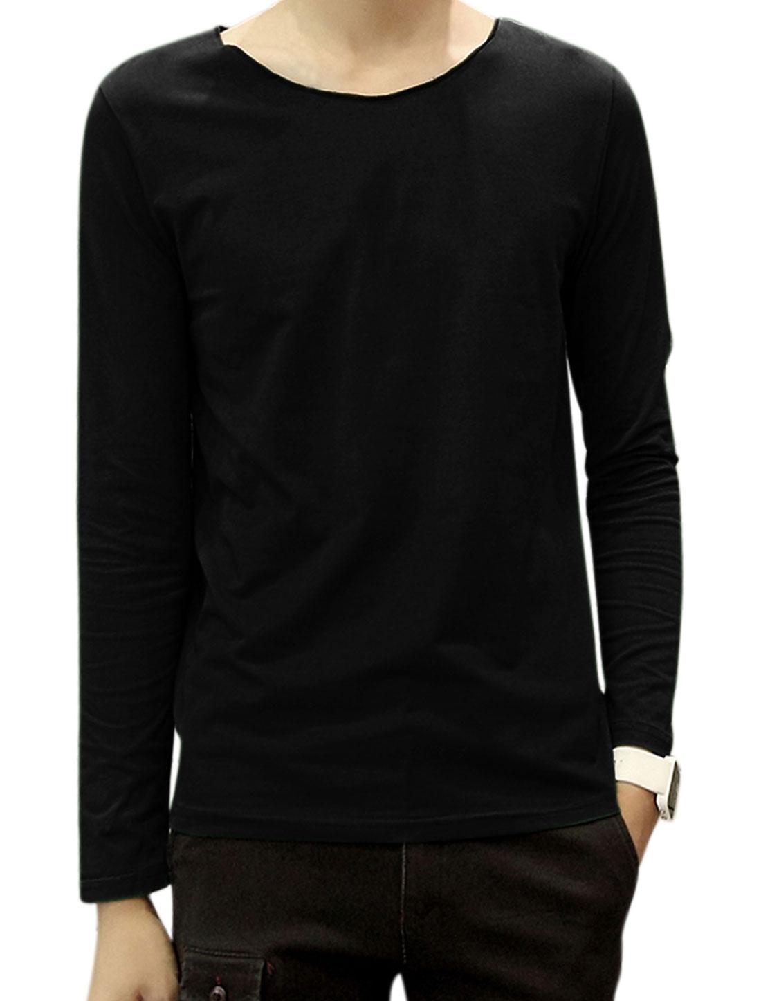 Men Raw Edge Neckline Long Sleeves Round Neck Tee Shirt Black M