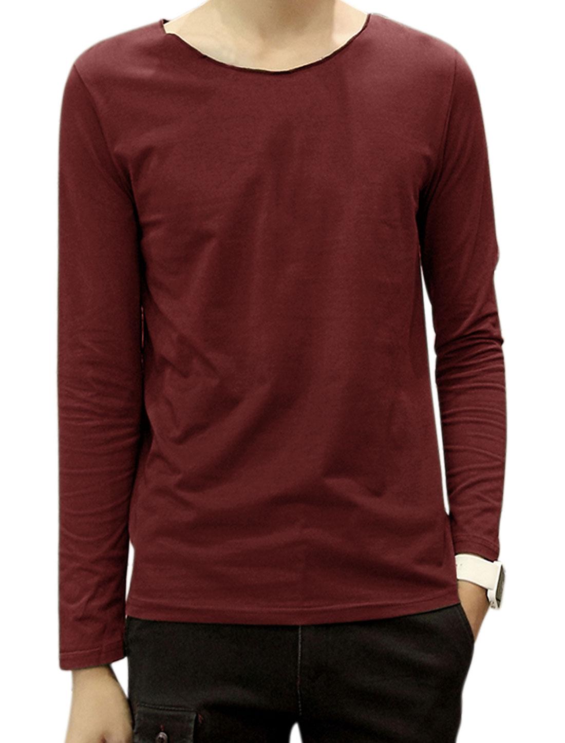 Men Raw Edge Neckline Long Sleeves Round Neck Tee Shirt Red M