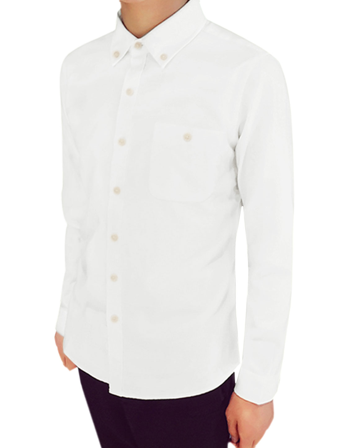 Men Long Sleeves Chest Pocket Button Closure Casual Shirt White M