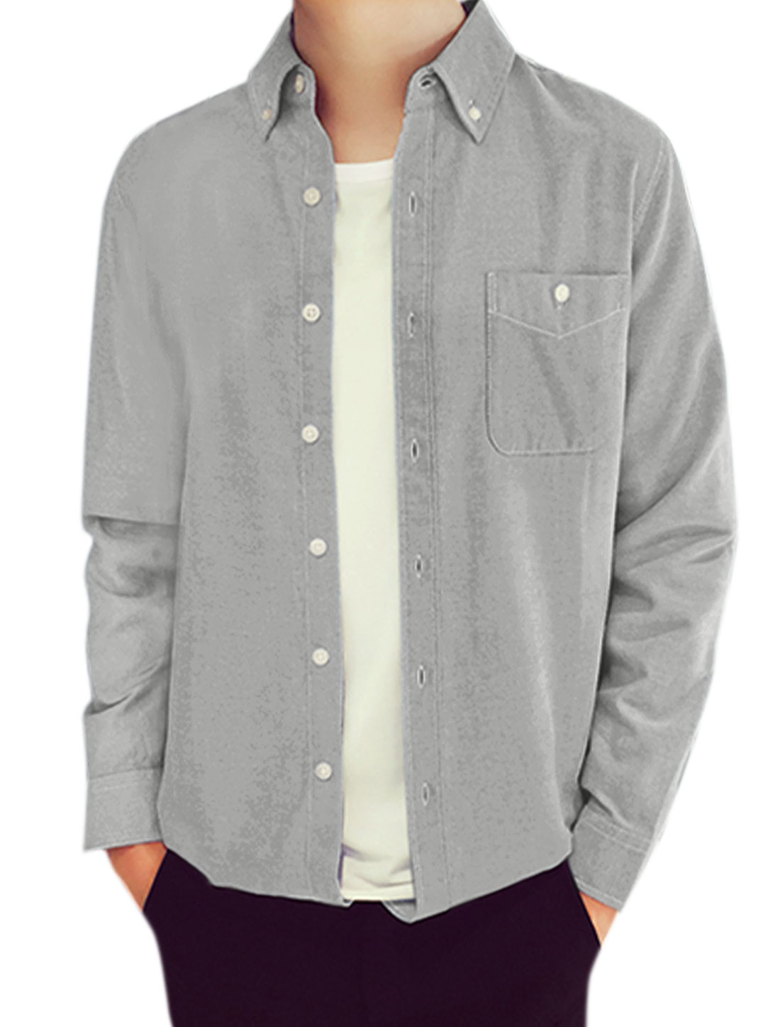 Man Long Sleeves Chest Pocket Button Down Casual Shirt Gray M