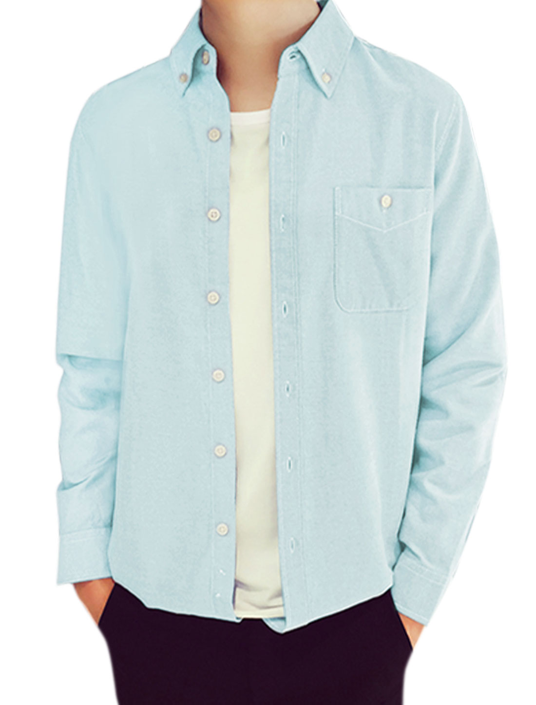 Man Long Sleeves Chest Pocket Button Down Casual Shirt Light Blue M