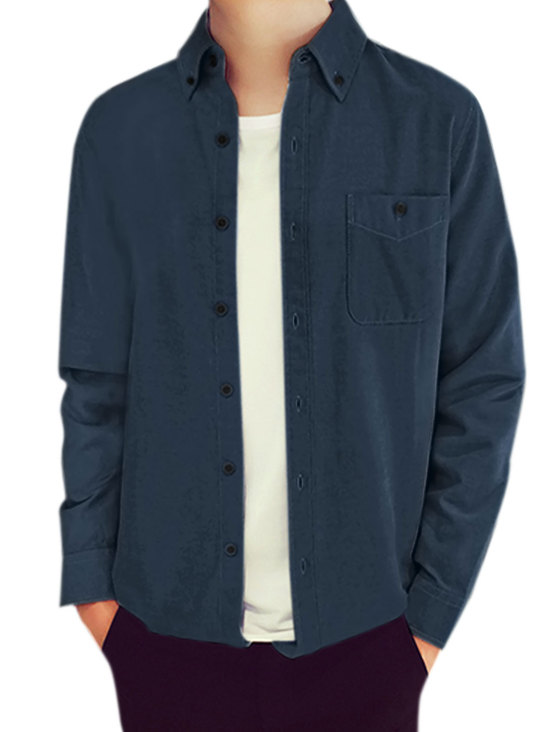 Men Long Sleeves Chest Pocket Button Closure Casual Shirt Navy Blue M