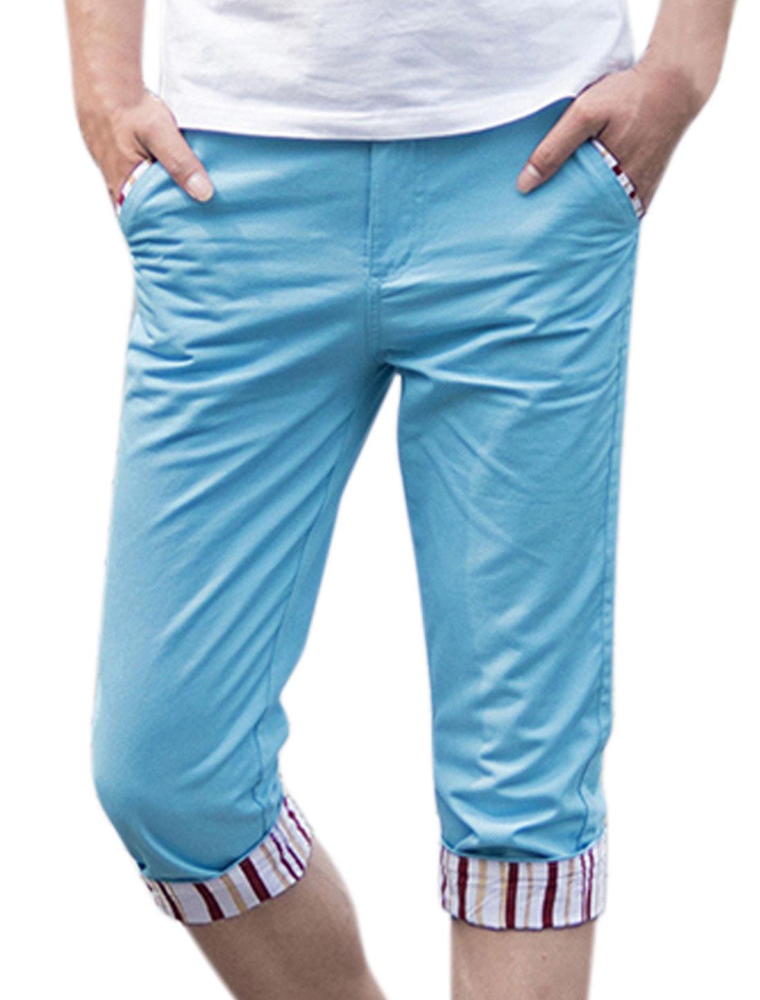 Men Zip Fly Rolled Cuffs Stripes Slim Fit Capris Pants Sky Blue W30