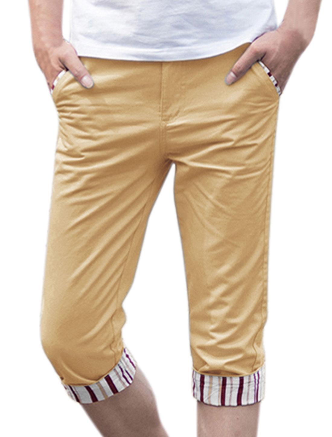 Men Zip Fly Rolled Cuffs Stripes Slim Fit Capris Pants Beige W30