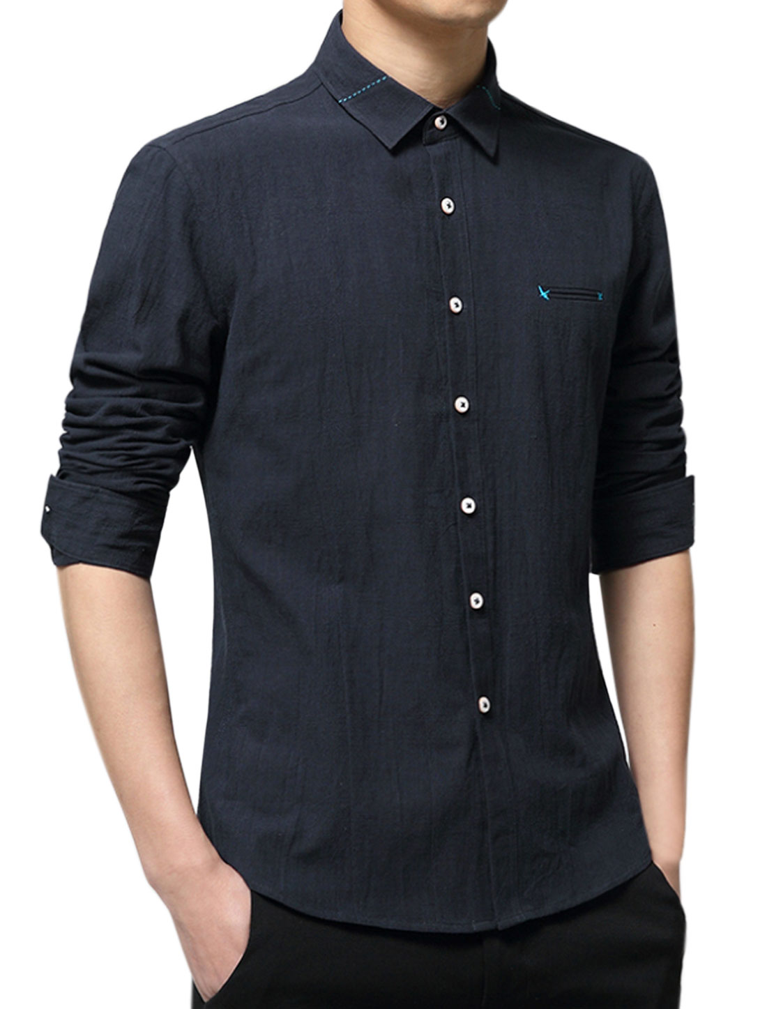 Men Collared Single Breasted Long Sleeves Slim Fit Shirt Navy Blue M