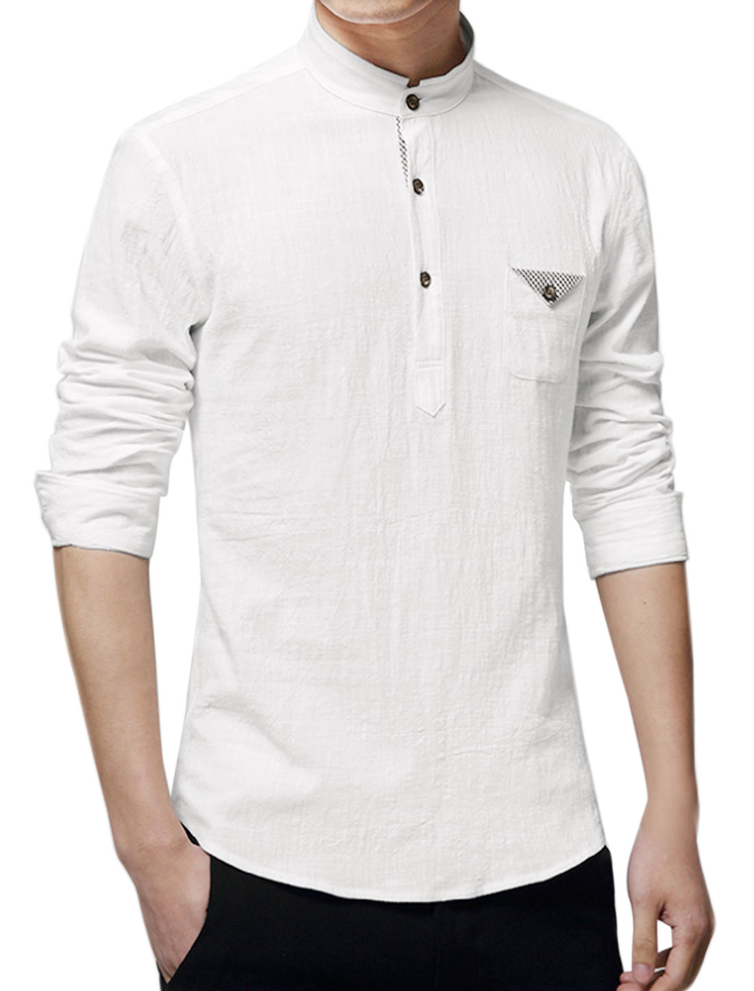 Men Mandarin Collar One Pocket Buttoned Slim Fit Shirt White M
