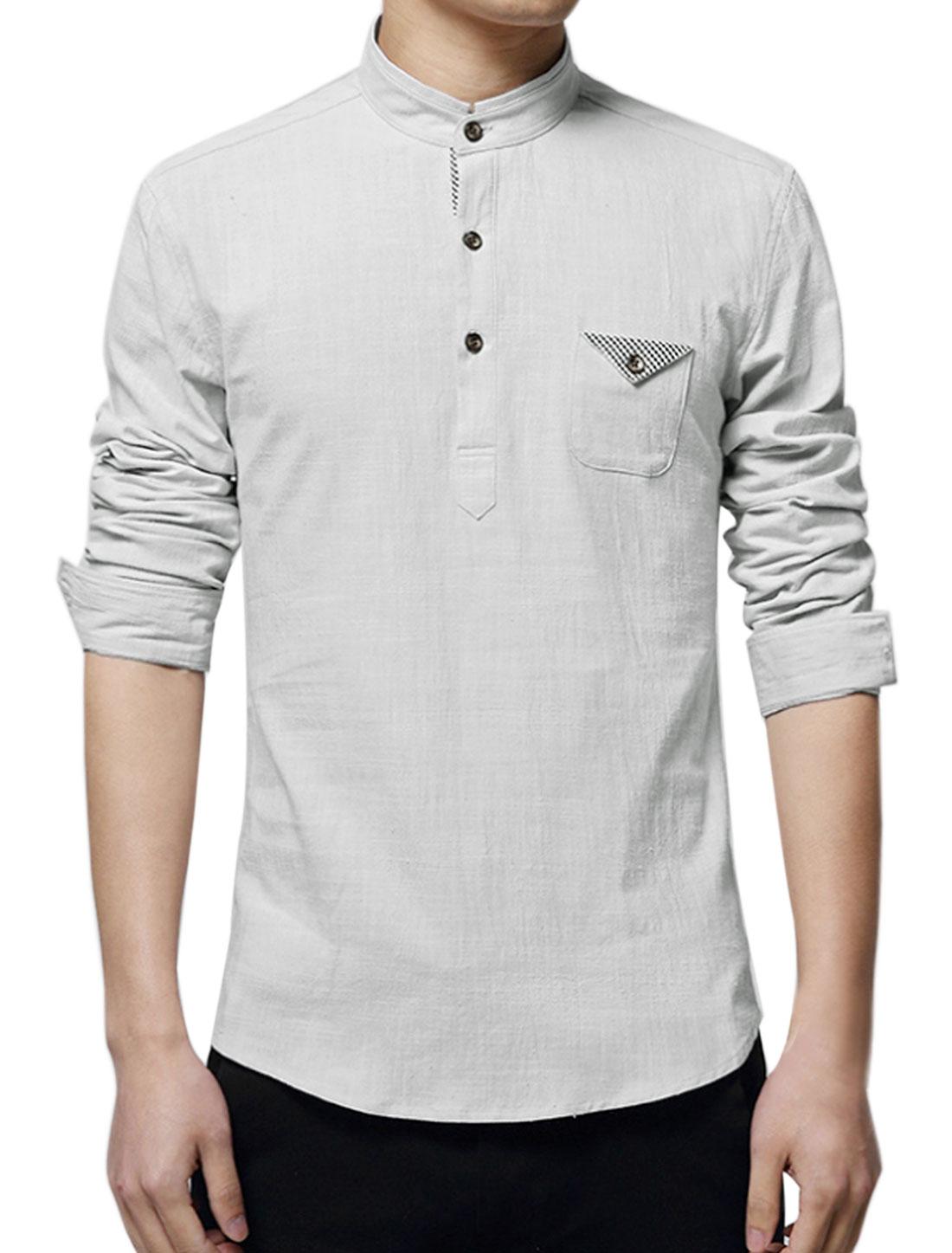 Men Mandarin Collar One Pocket Buttoned Slim Fit Shirt Gray M