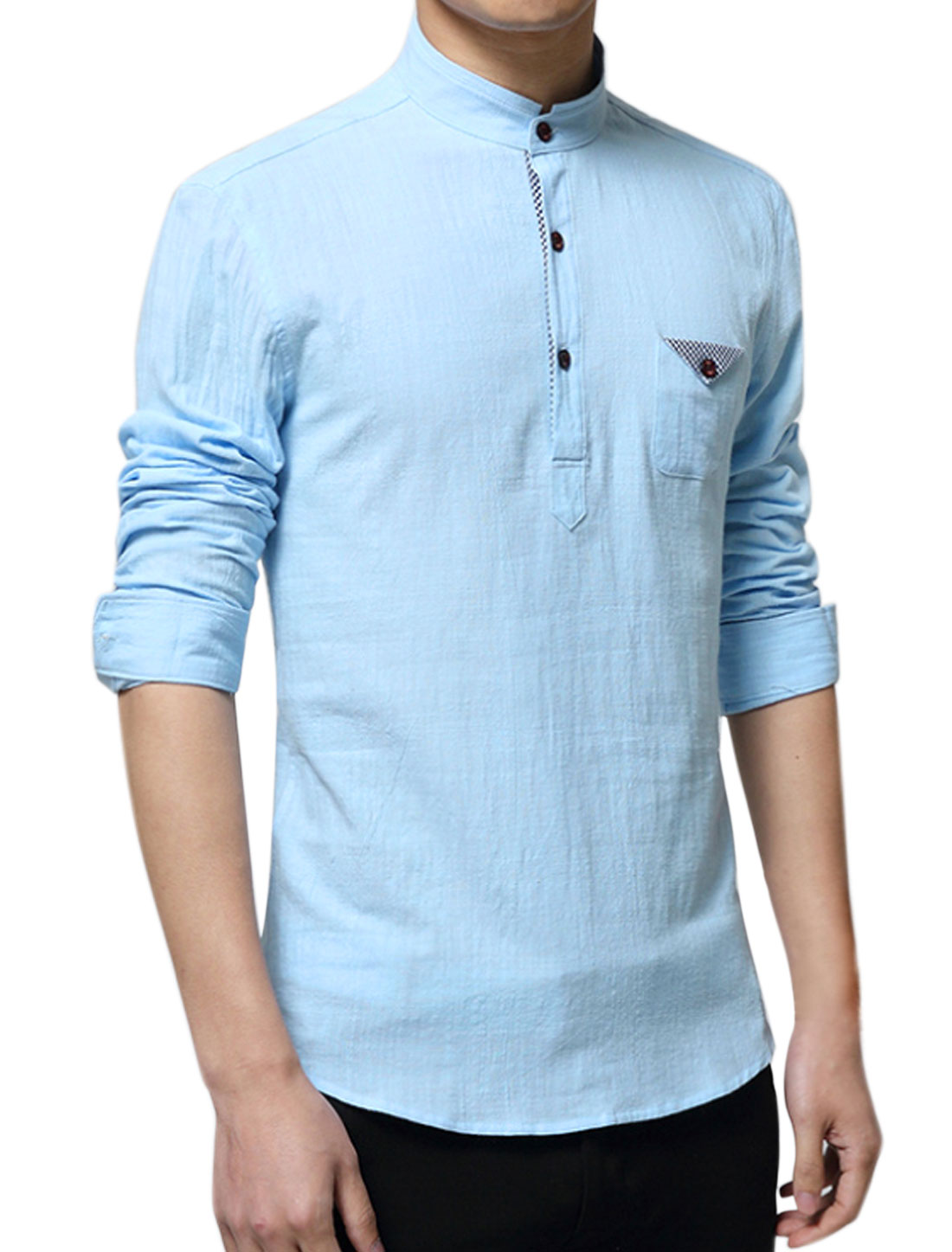 Men Mandarin Collar One Pocket Buttoned Slim Fit Shirt Sky Blue M