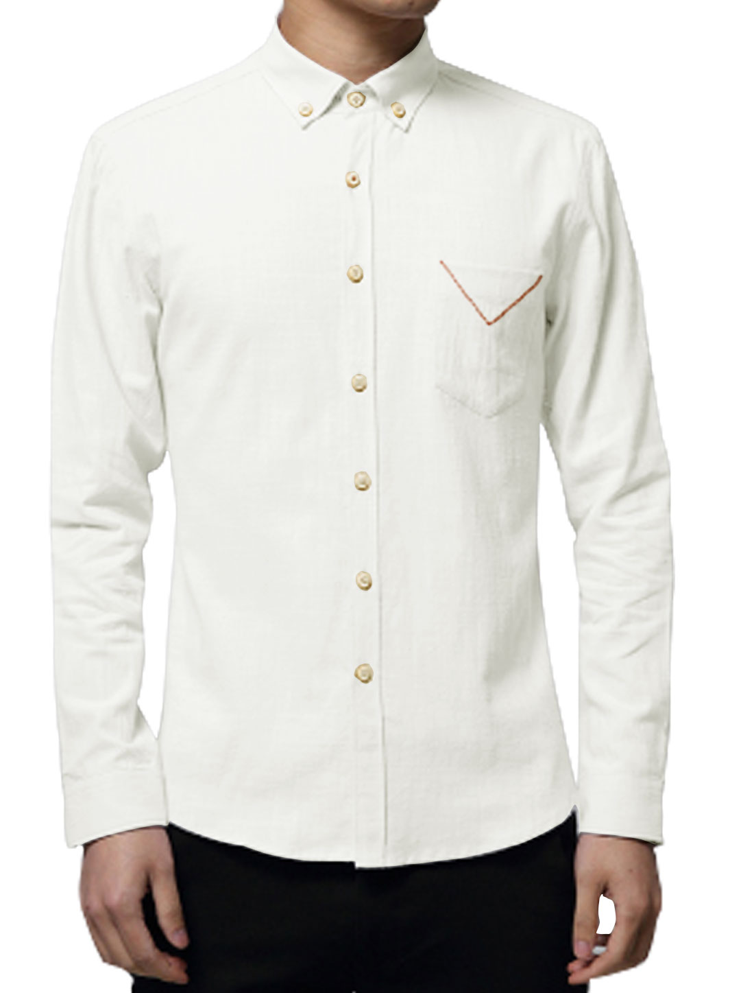Man Long Sleeves Chest Pocket Slim Fit Button Down Shirt White M