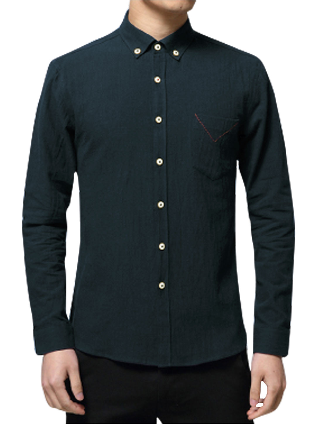 Man Long Sleeves Chest Pocket Slim Fit Button Down Shirt Navy Blue M